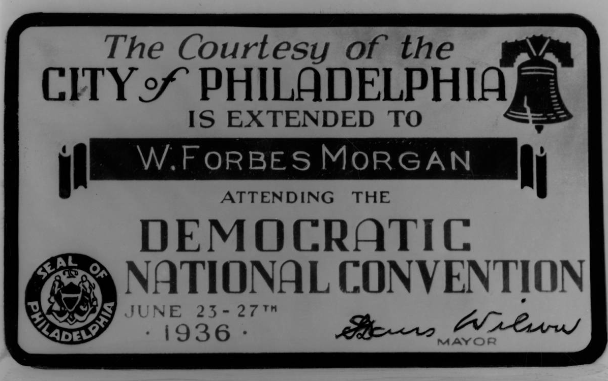 Hand engraved convention courtesy card for delegate W. Forbes Morgan | Philadelphia, June 09, 1936 | Evening Bulletin | Special Collections Research Center, Temple University Libraries, Philadelphia, PA