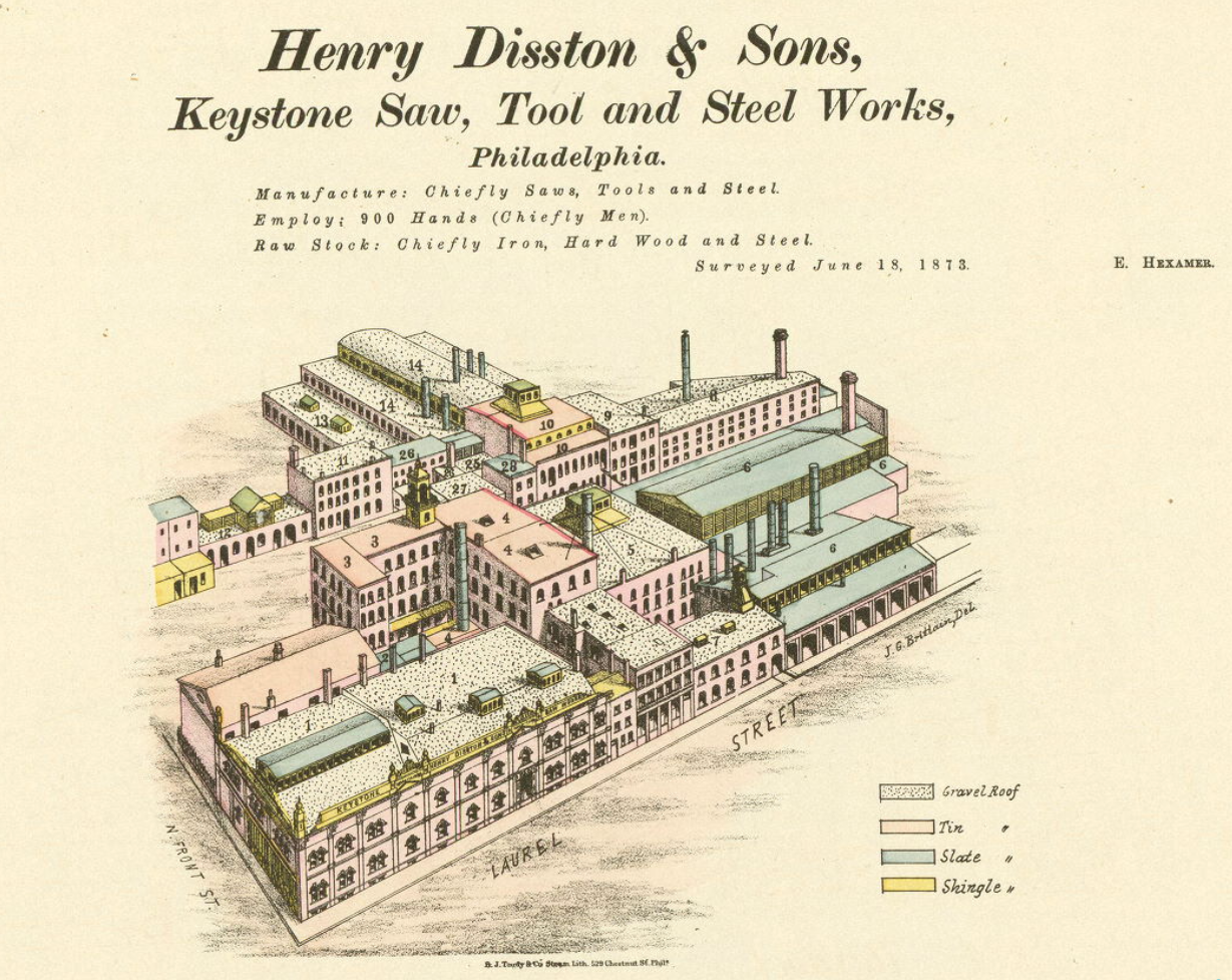 Henry Disston & Sons Keyston Saw, Tool and Steel Works | 1873 Hexamer survey, Free Library of Philadelphia Map Collection