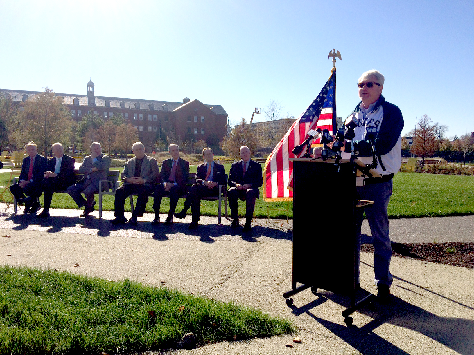 IBEW 98 Business Manager John Johnny Doc Dougherty speaking at the Navy Yard's Central Green