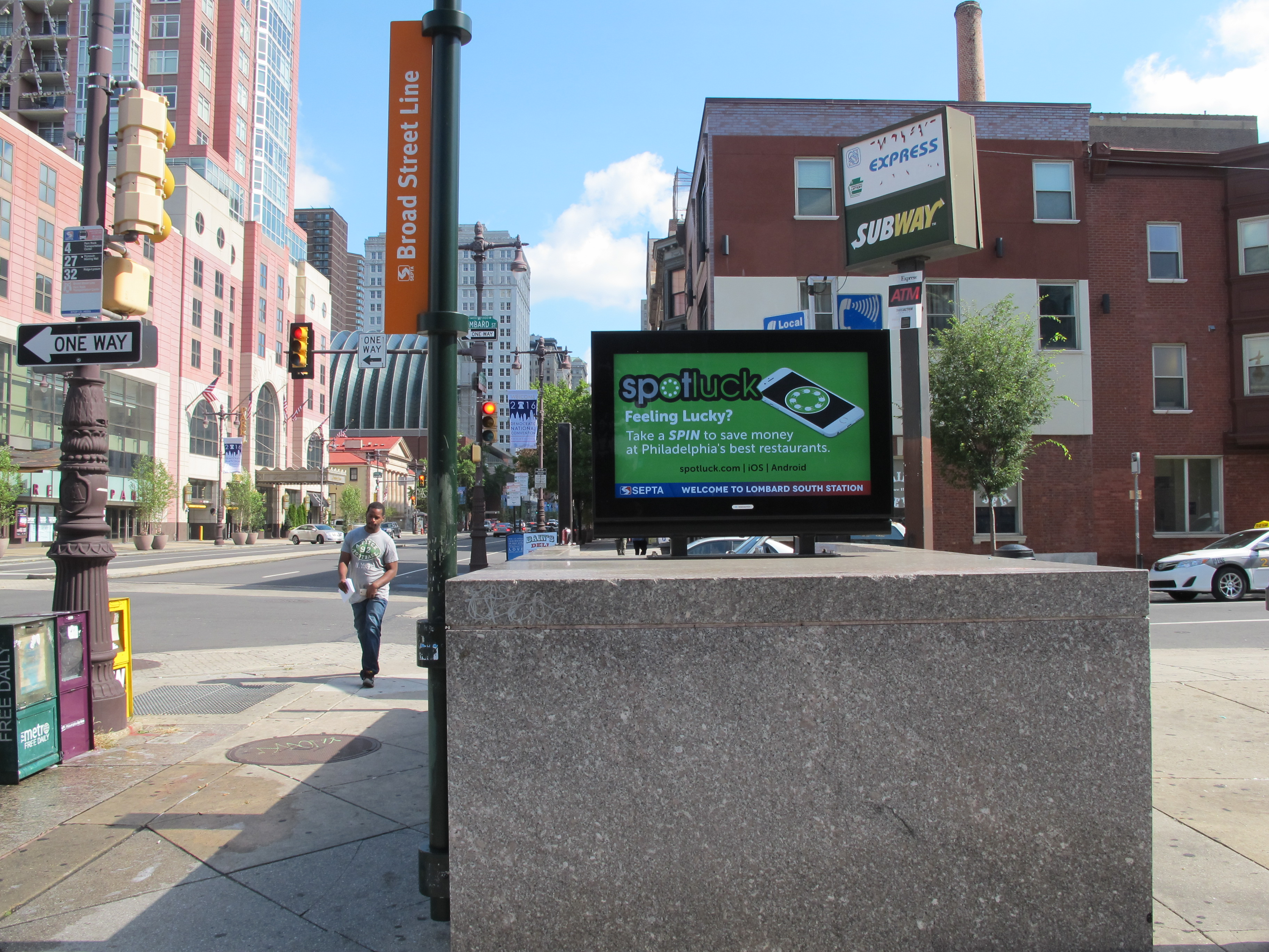 Digital display at Lombard Street entrance to Broad Street Line