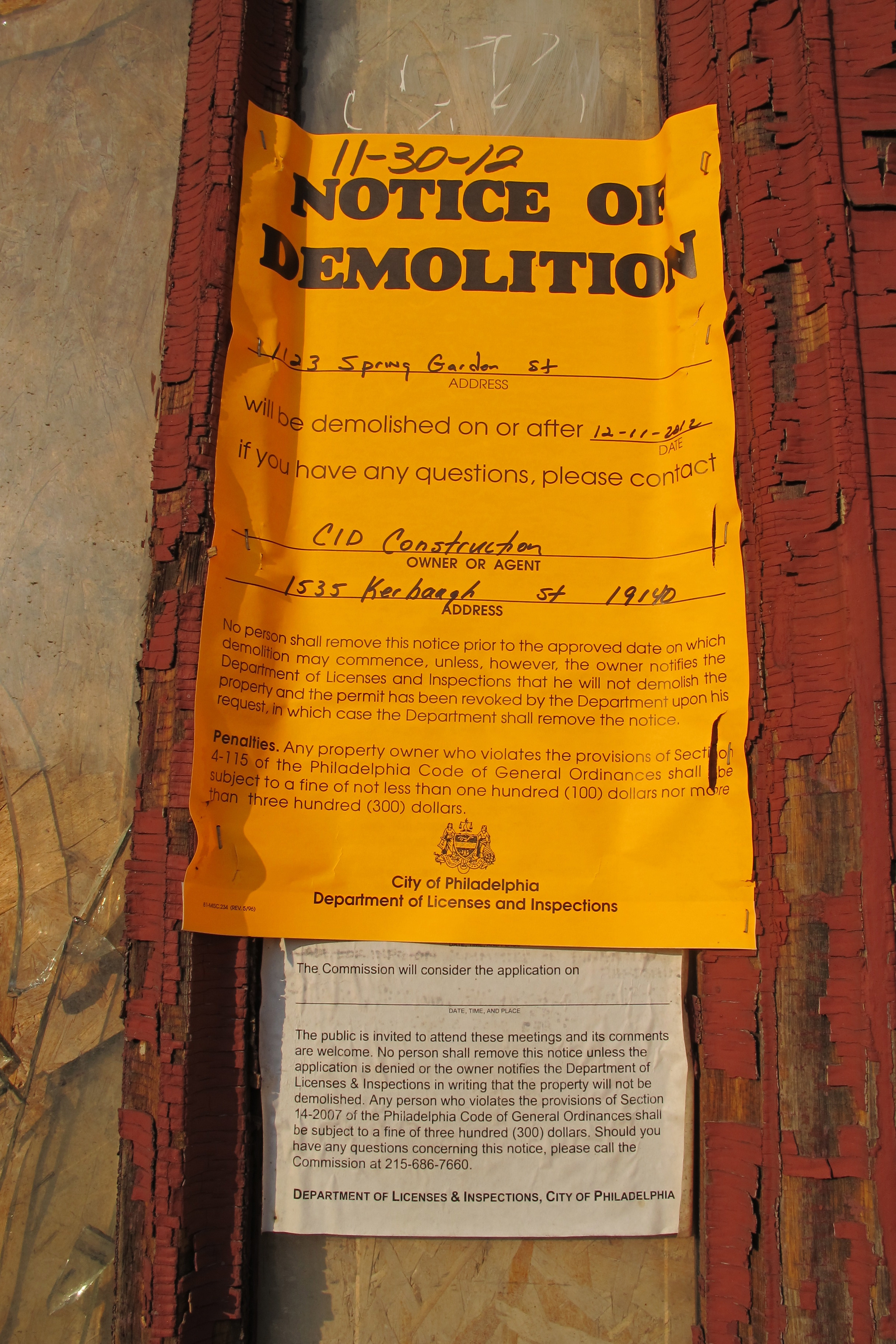 L&I demolition notice on Church of the Assumption
