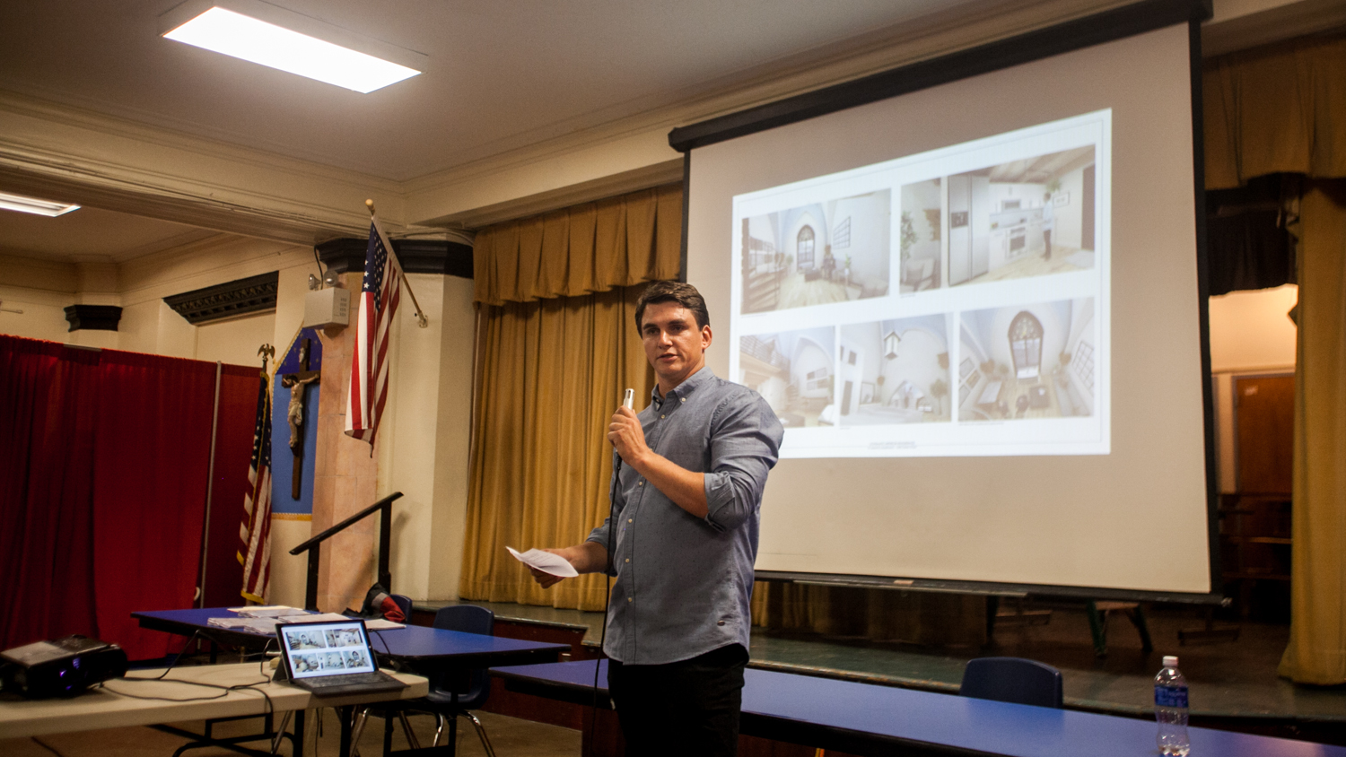 Leo Voloshin presenting residential reuse plan for St. Laurentius to Fishtown neighbors, Sept. 20, 2016 | Brad Larrison for NewsWorks