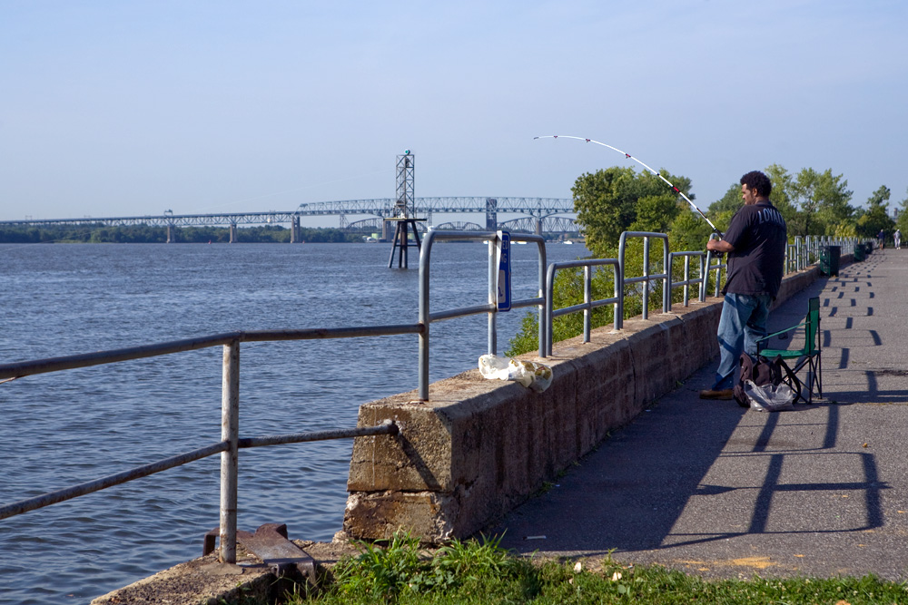 Looking south at the Tacony fishing and boat launch toward the Betsy Ross and Delair Bridges.