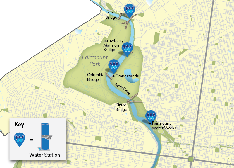 Map of water stations along Kelly Drive | Philadelphia Water Department