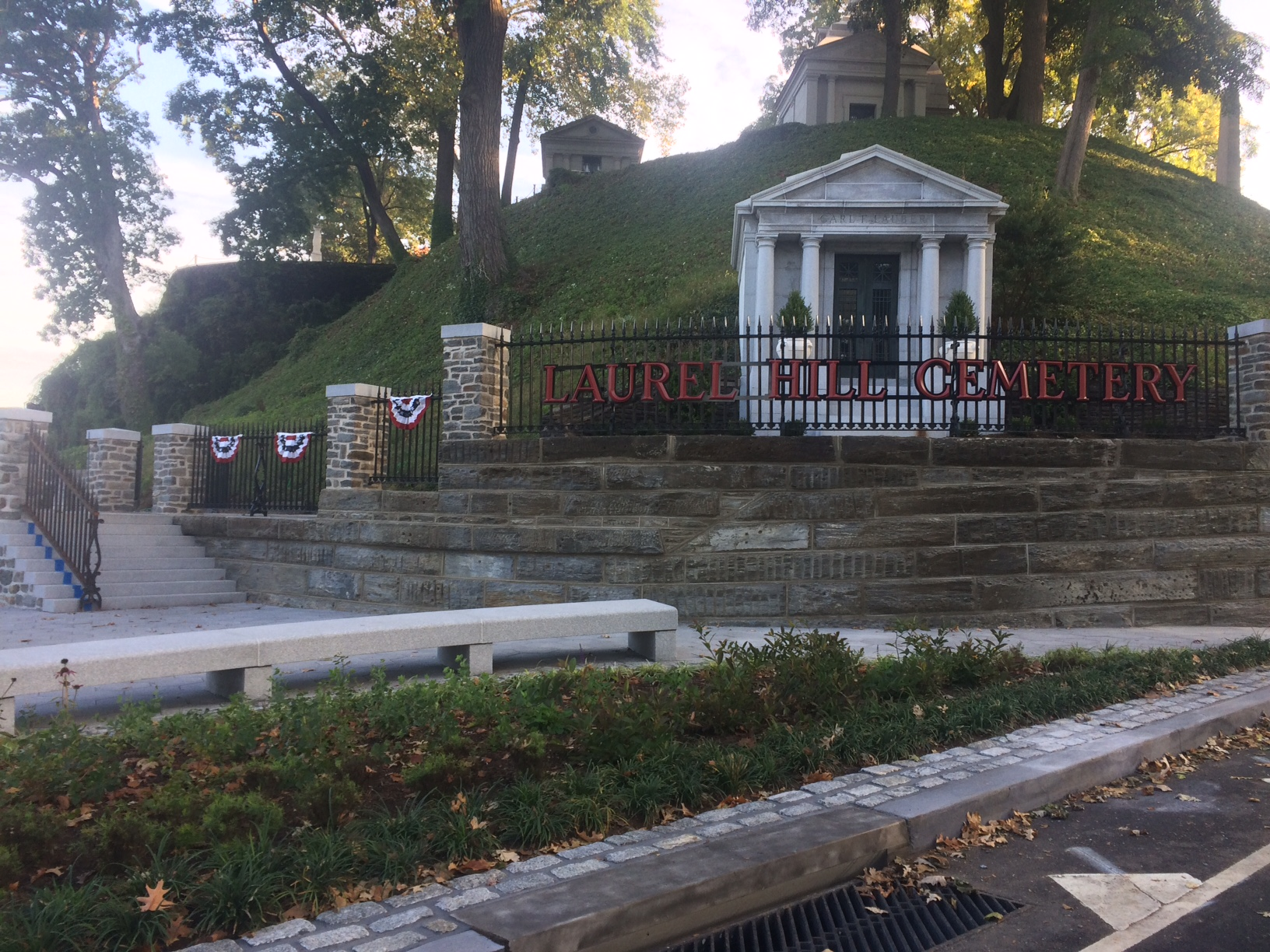 New entrance, landscaping and bench at Laurel Hill Cemetery
