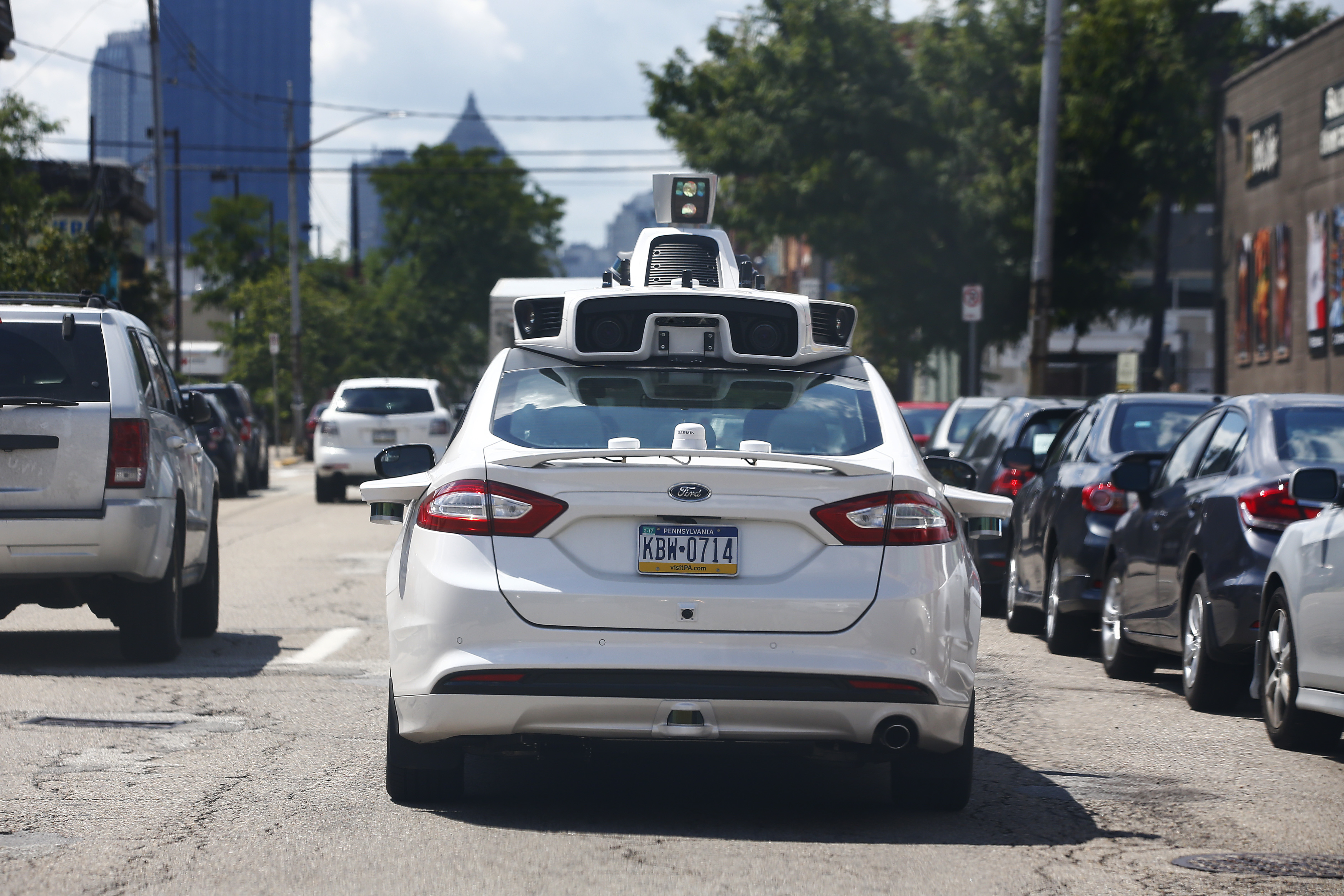 One of Uber's self-driving cars being tested in Pittsburgh, August 2016 (AP Photo/Jared Wickerham)