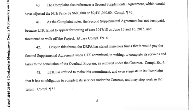 Paragraphs 41-43 of DRPA's Preliminary Objections to LTK's lawsuit