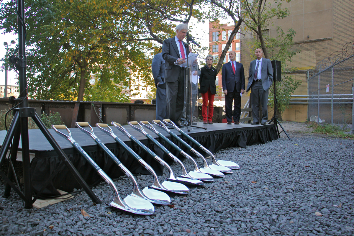 Paul Levy at the ceremonial groundbreaking for Phase I of the Rail Park, October 31, 2016 | Emma Lee / WHYY