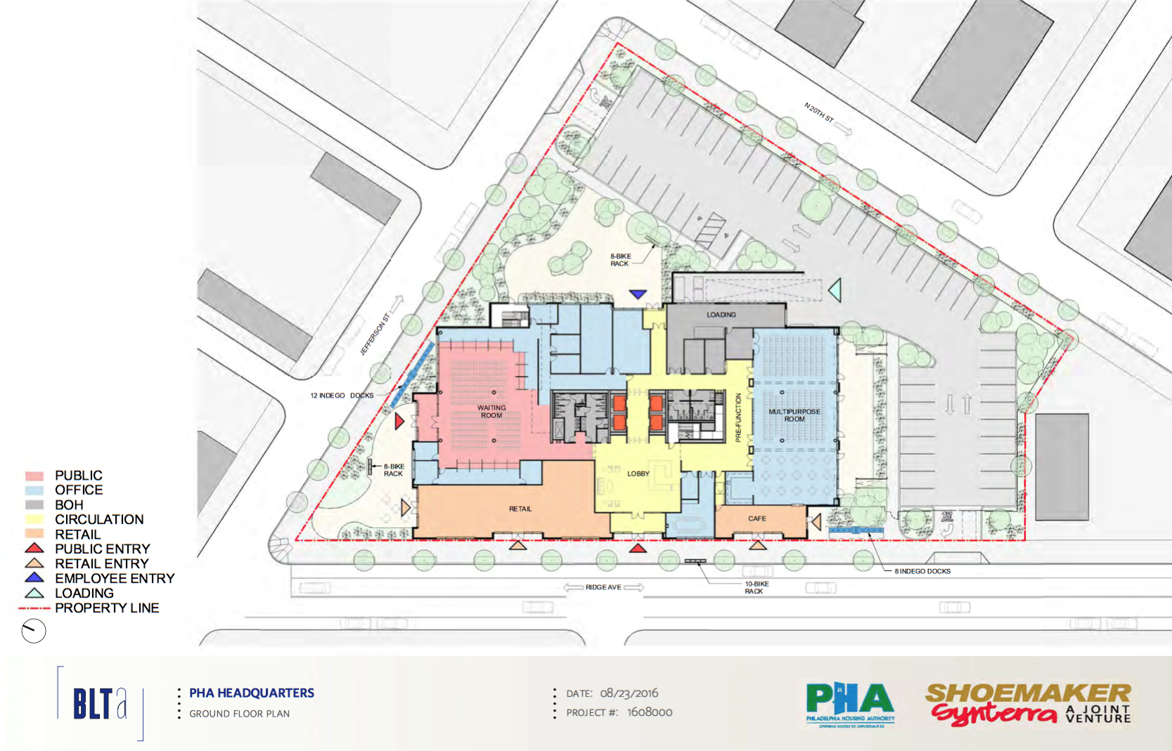 PHA Headquarters: Ground floor and site plan | BLTa, CDR presentation, Sept. 2016