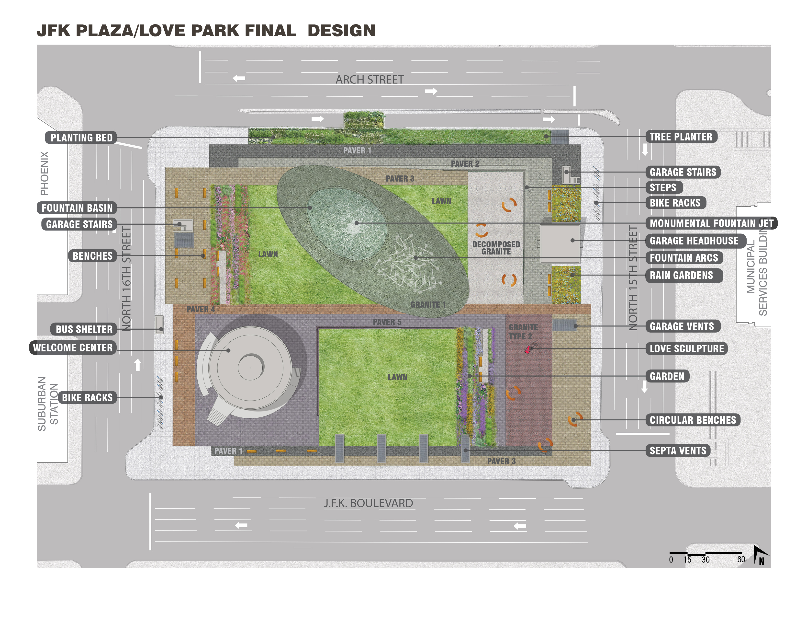 Plan of LOVE Park / JFK Plaza, October 2015 | Hargreaves