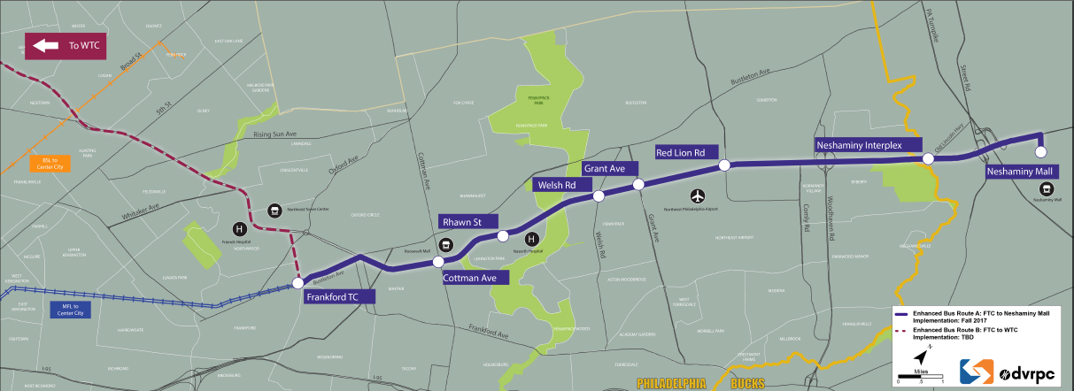 Proposed stations for new enhanced bus service along Roosevelt Boulevard