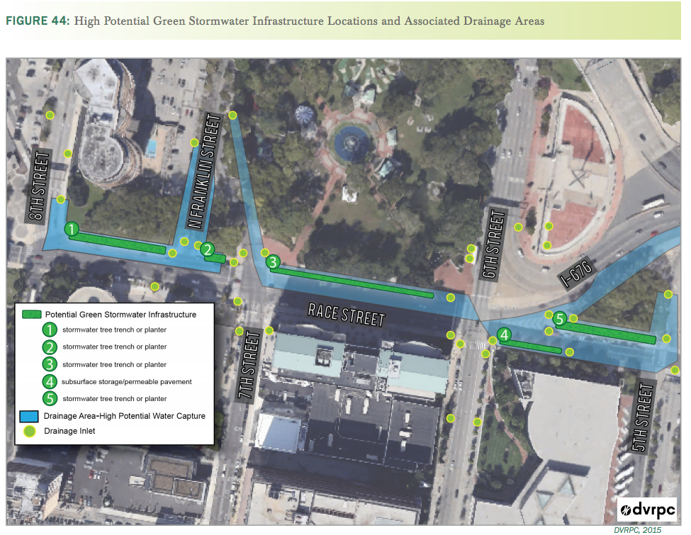 Proposed stormwater management improvements along Race Street