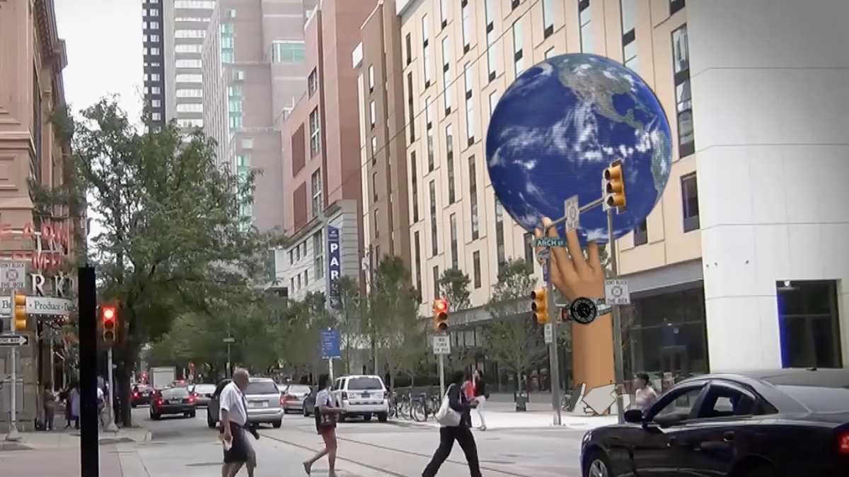 Proposed UED globe at 12th and Arch streets in Philadelphia. (Image courtesy of Catalyst)