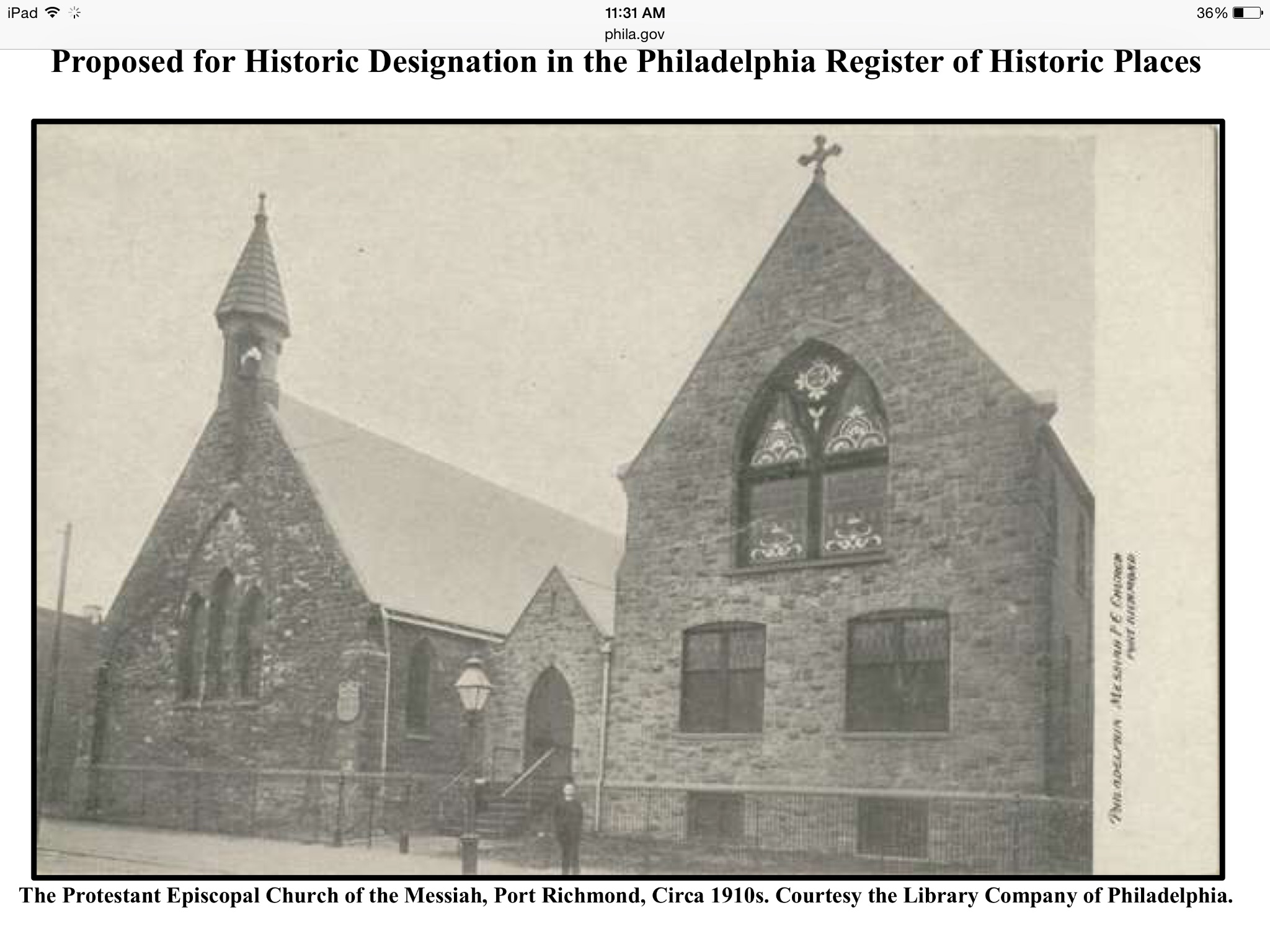 Protestant Episcopal Church of the Messiah, c. 1910 | Library Company of Philadelphia, Nomination for Philadelphia Register