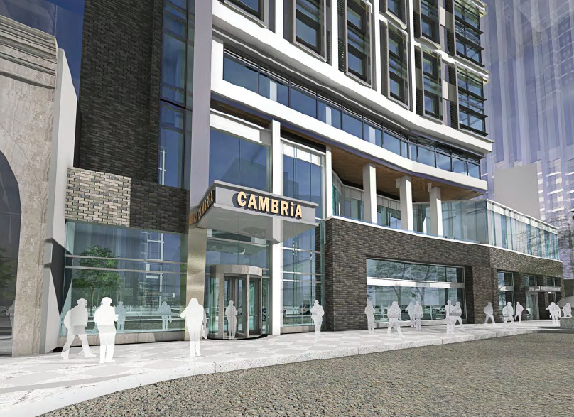 Rendering of Cambria Hotel at ground level | DAS Architects