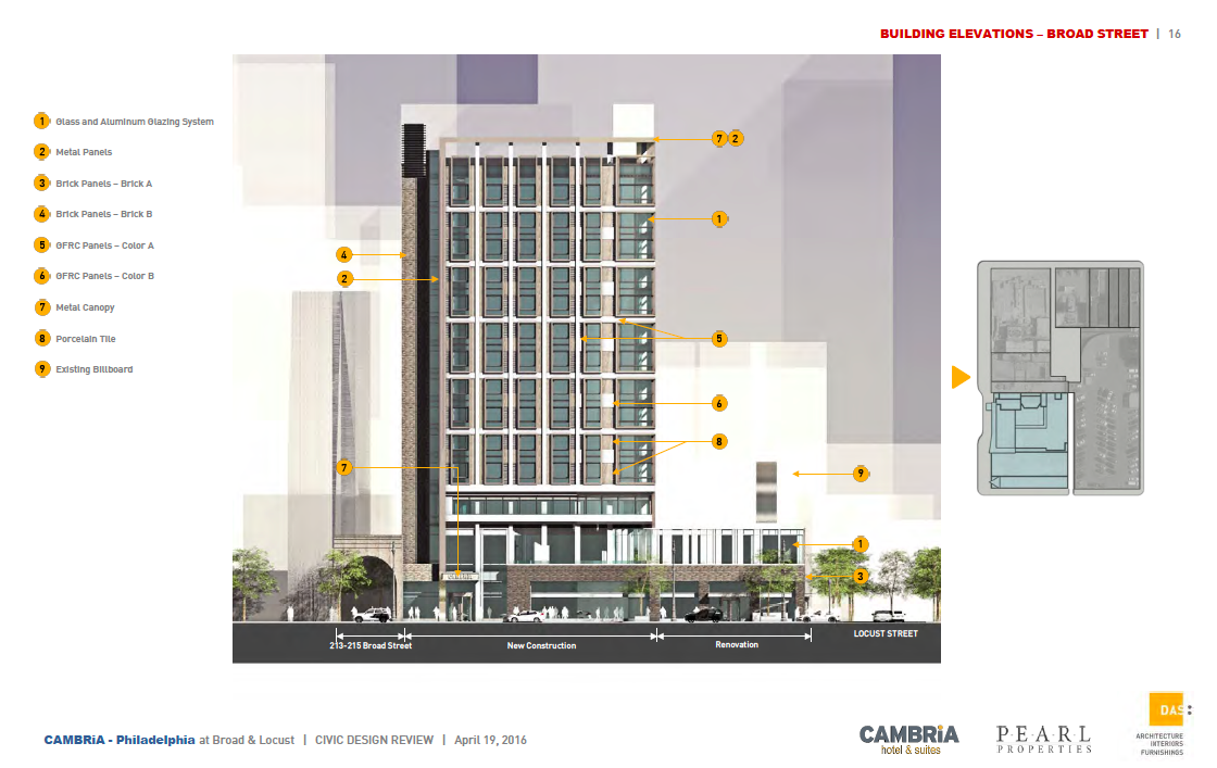 Rendering of Cambria Hotel, Broad Street elevation noting materials | DAS Architects