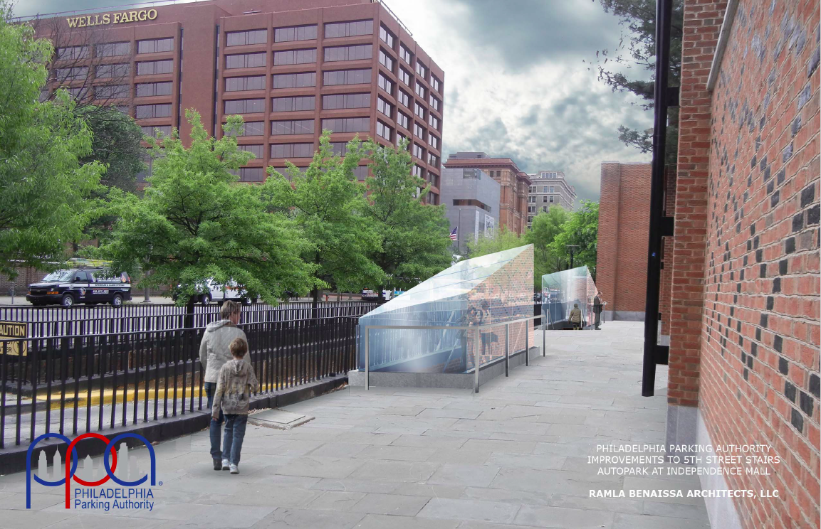Rendering of new glass canopy over stairs to PPA's Independence Mall garage