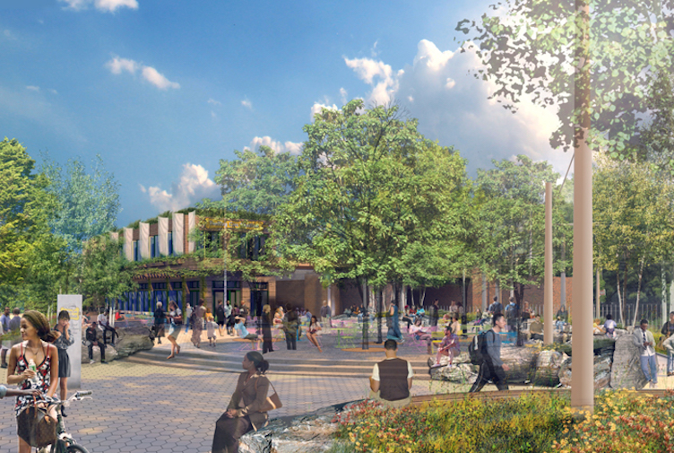 Rendering of Trolley Car Station restaurant at 40th Street Trolley Portal Gardens