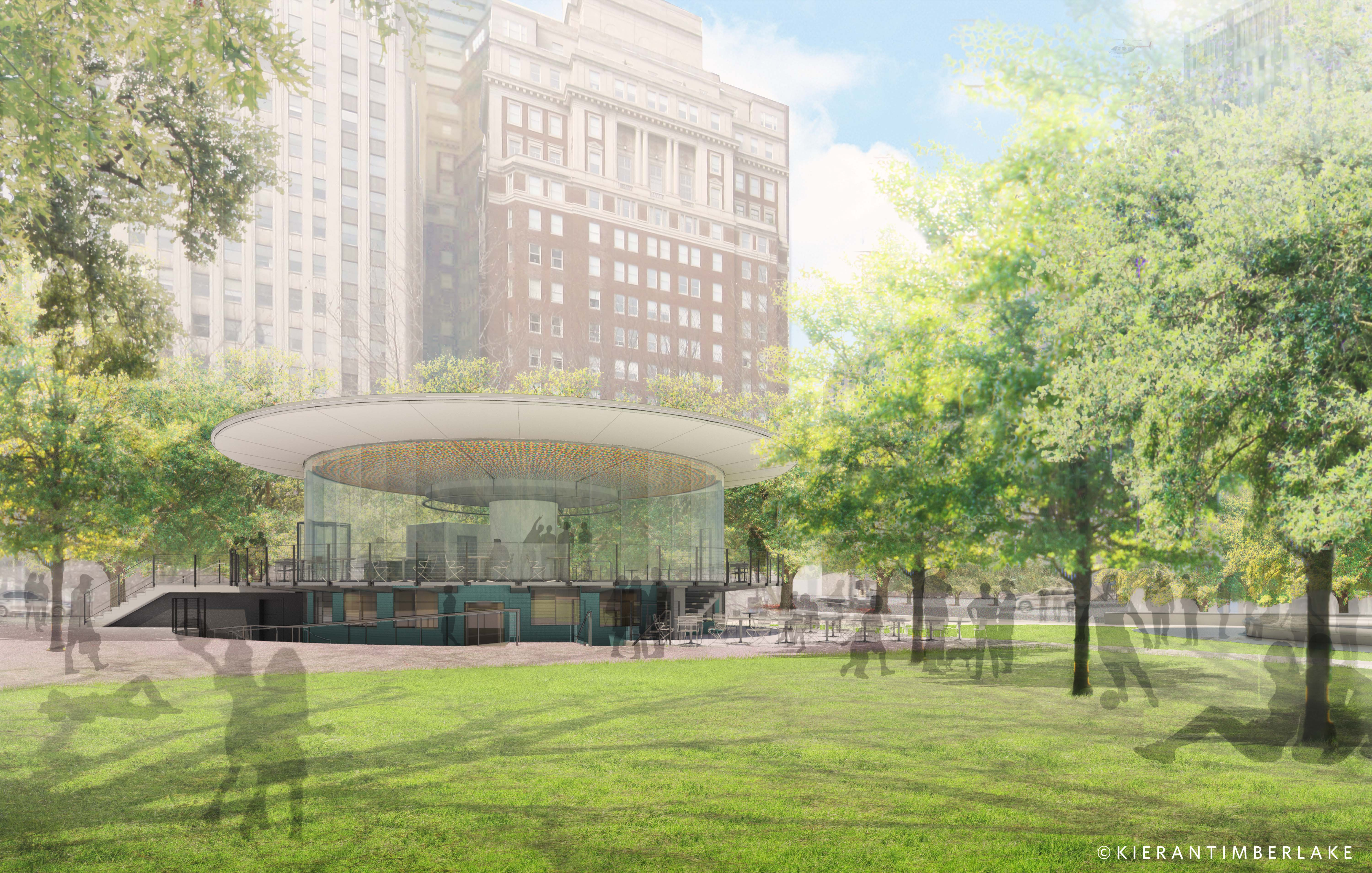 Rendering of Welcome Center from the lawn | Kieran Timberlake