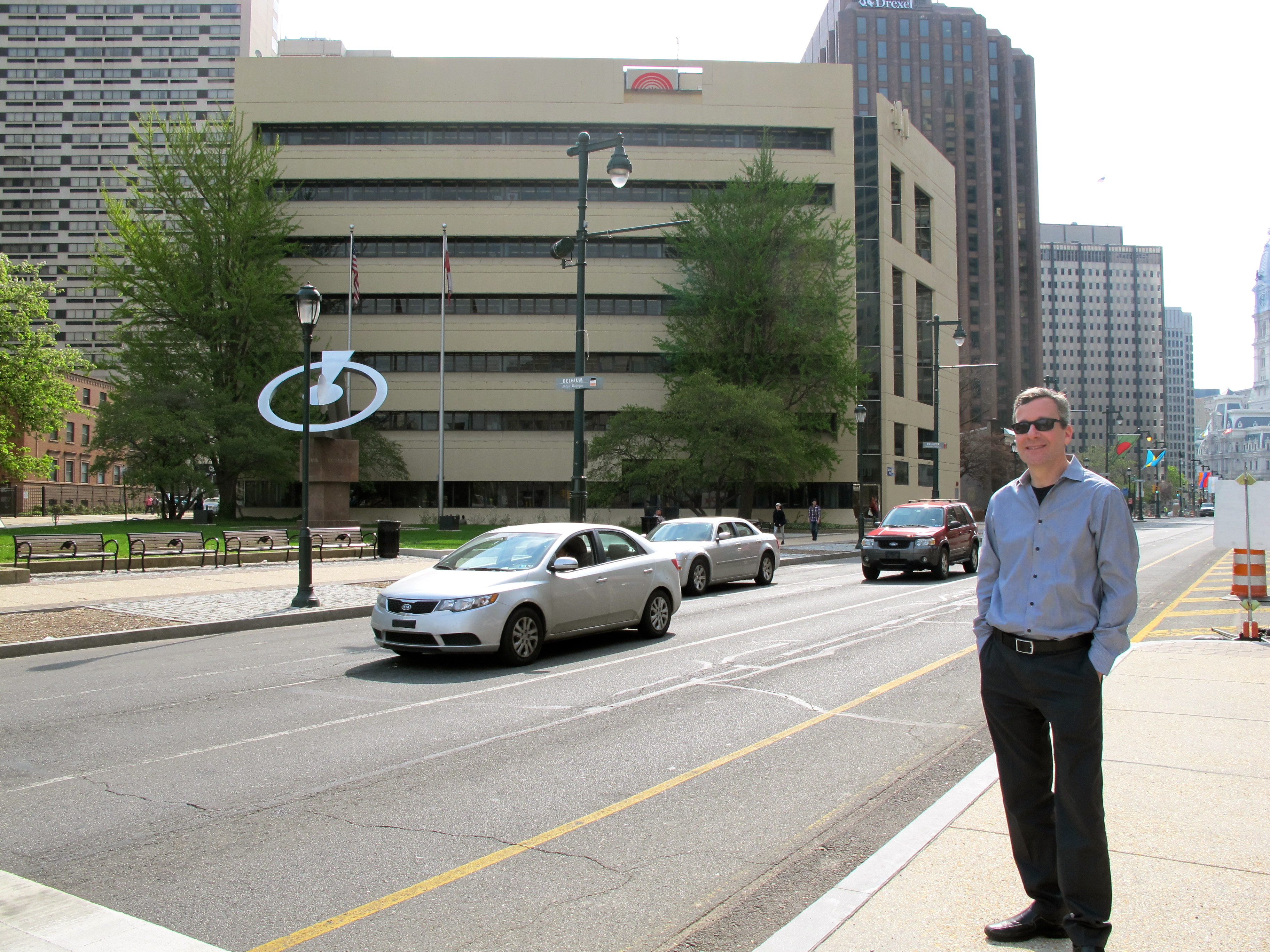 Richard Maimon on the Parkway, United Way building at background