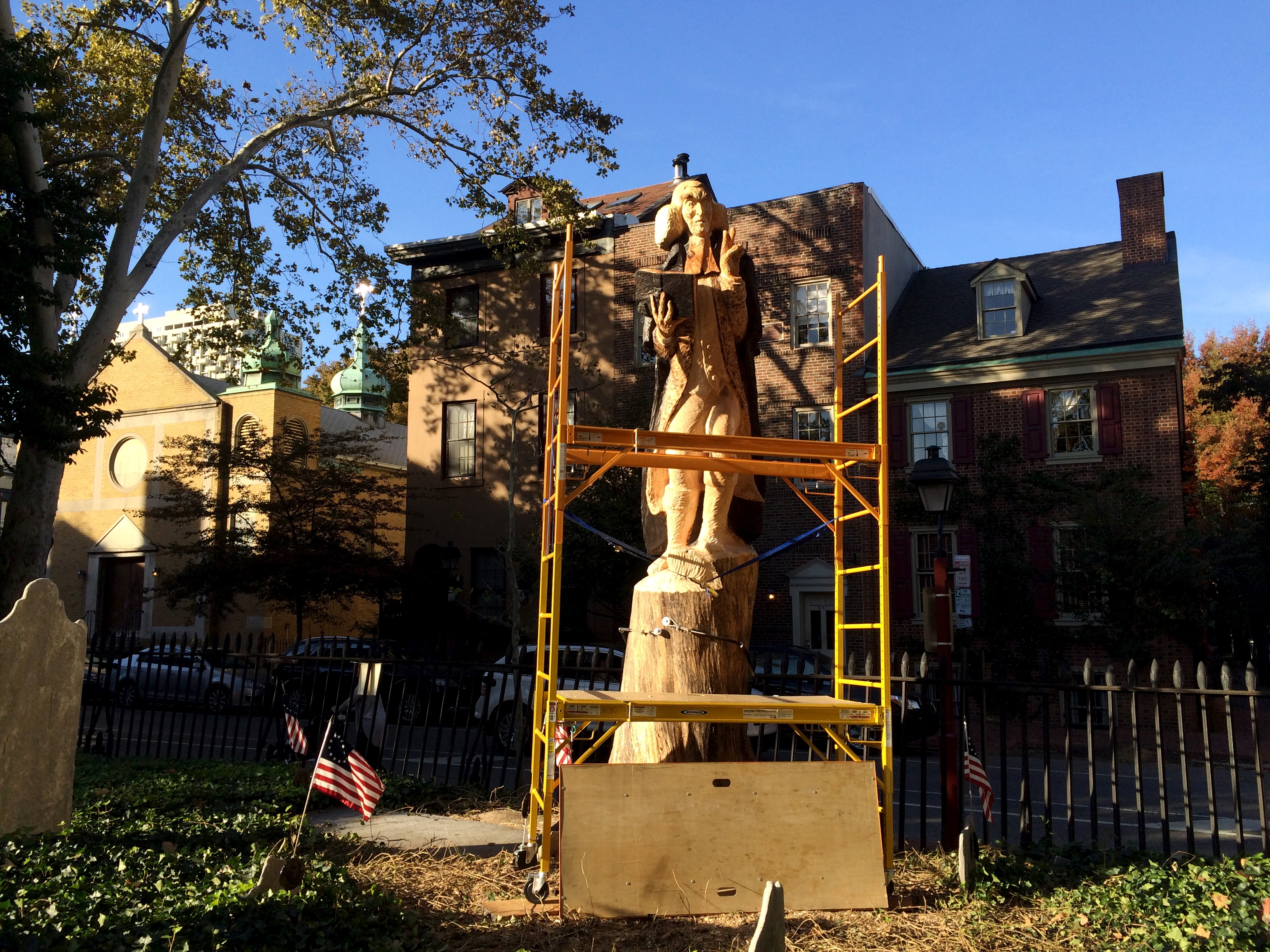 Roger Wing's sculpture of George Duffield nearing completion