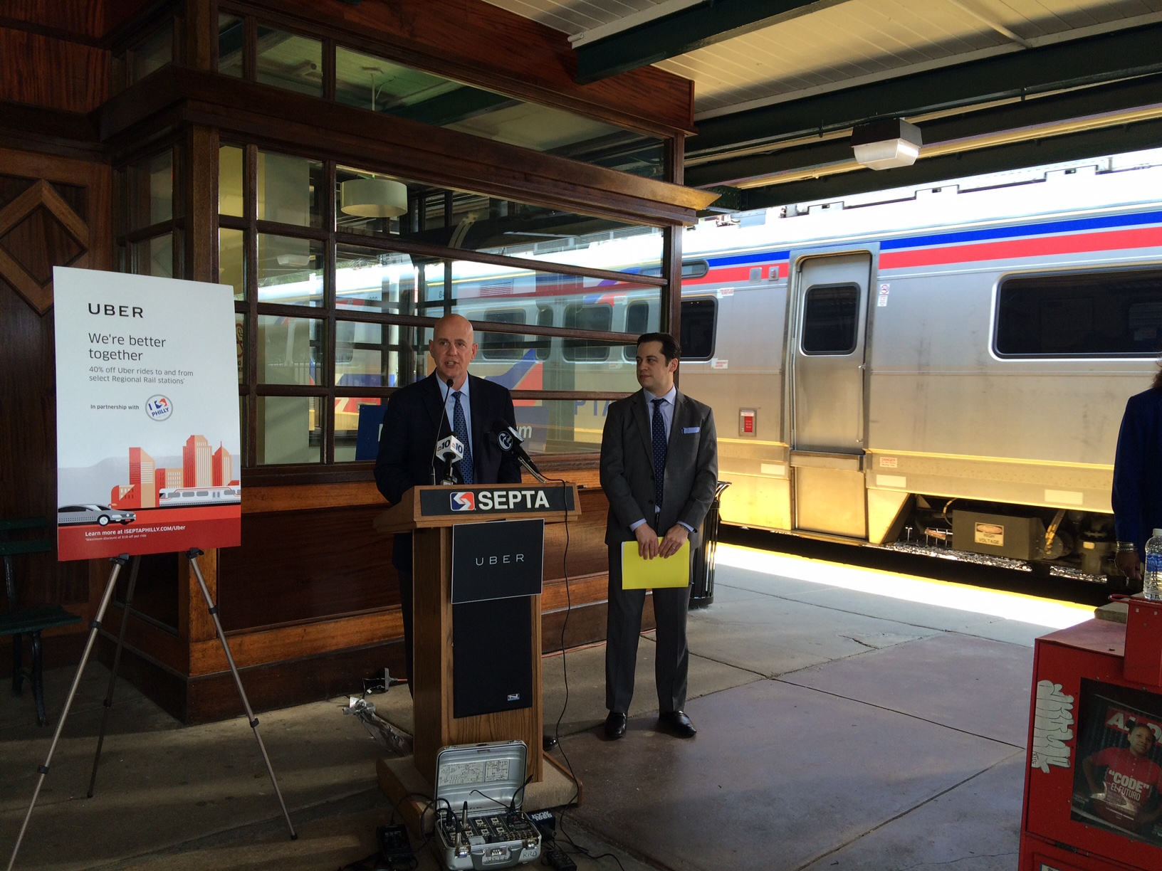 SEPTA GM Jeff Knueppel and Uber GM for PA John Feldman announce 40% off regional rail Uber deal
