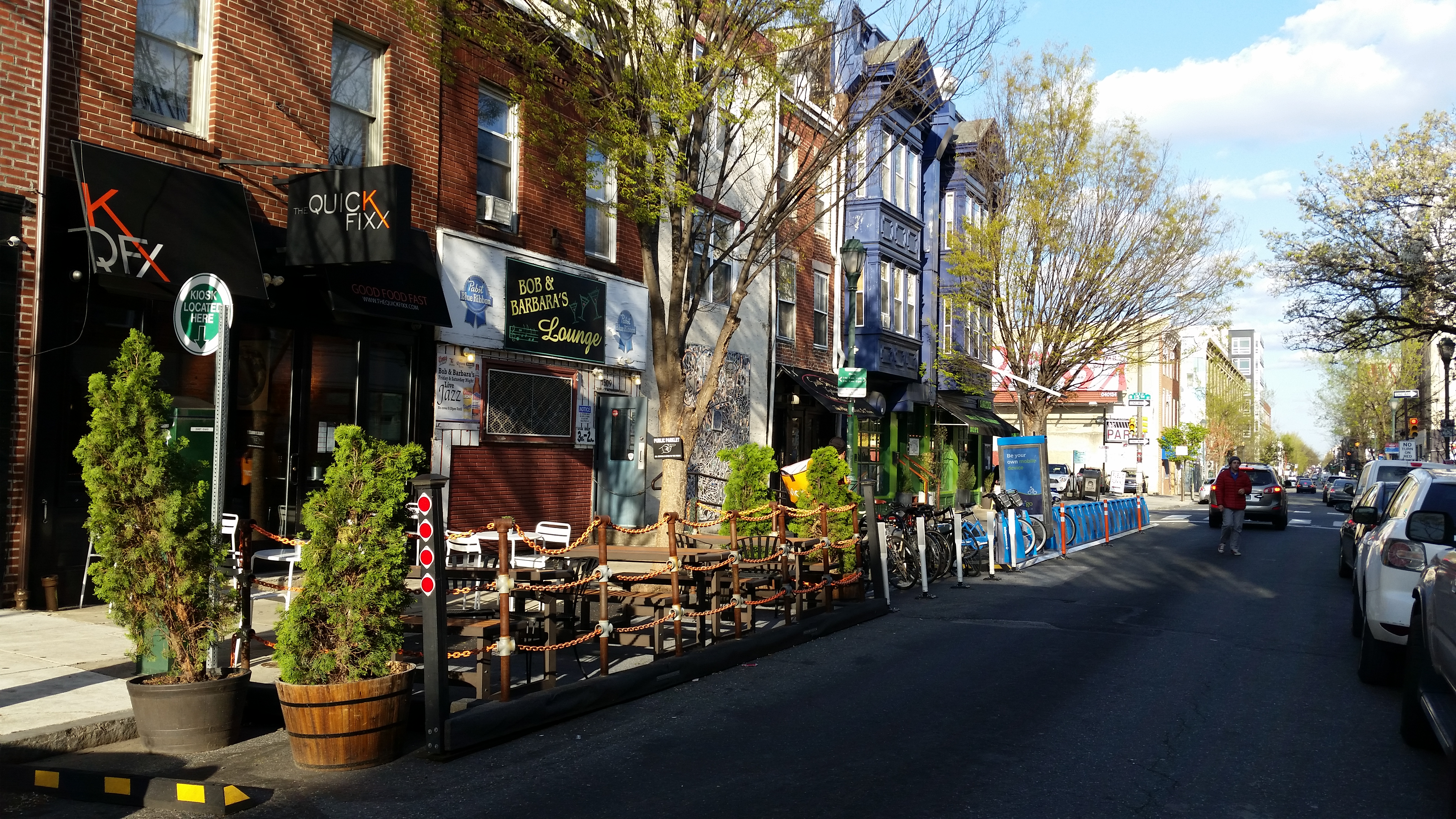 South Street West's bike/ped trifecta: Parklet, bike corral, Indego station | Marcus Ferreira