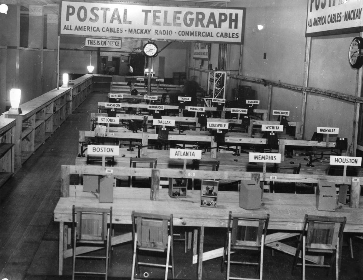 Telegraph room at the Republican National Convention in Philadelphia, 1940 | Evening Bulletin | Special Collections Research Center, Temple University Libraries, Philadelphia, PA