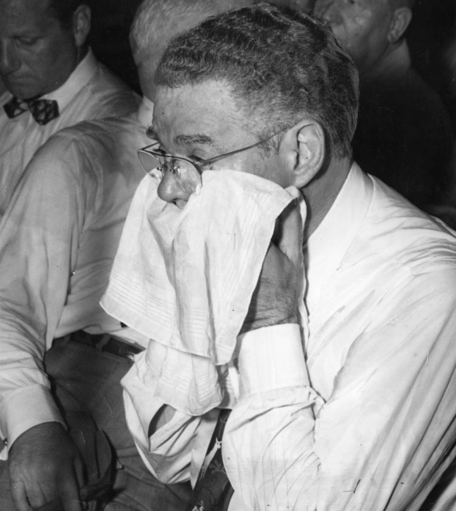 Illinois Sen. Wyland Brooks wiping his face. Temperatures in Convention Hall during the 1948 convention hit 95 degrees.  | Special Collections Research Center, Temple University Libraries, Philadelphia, PA