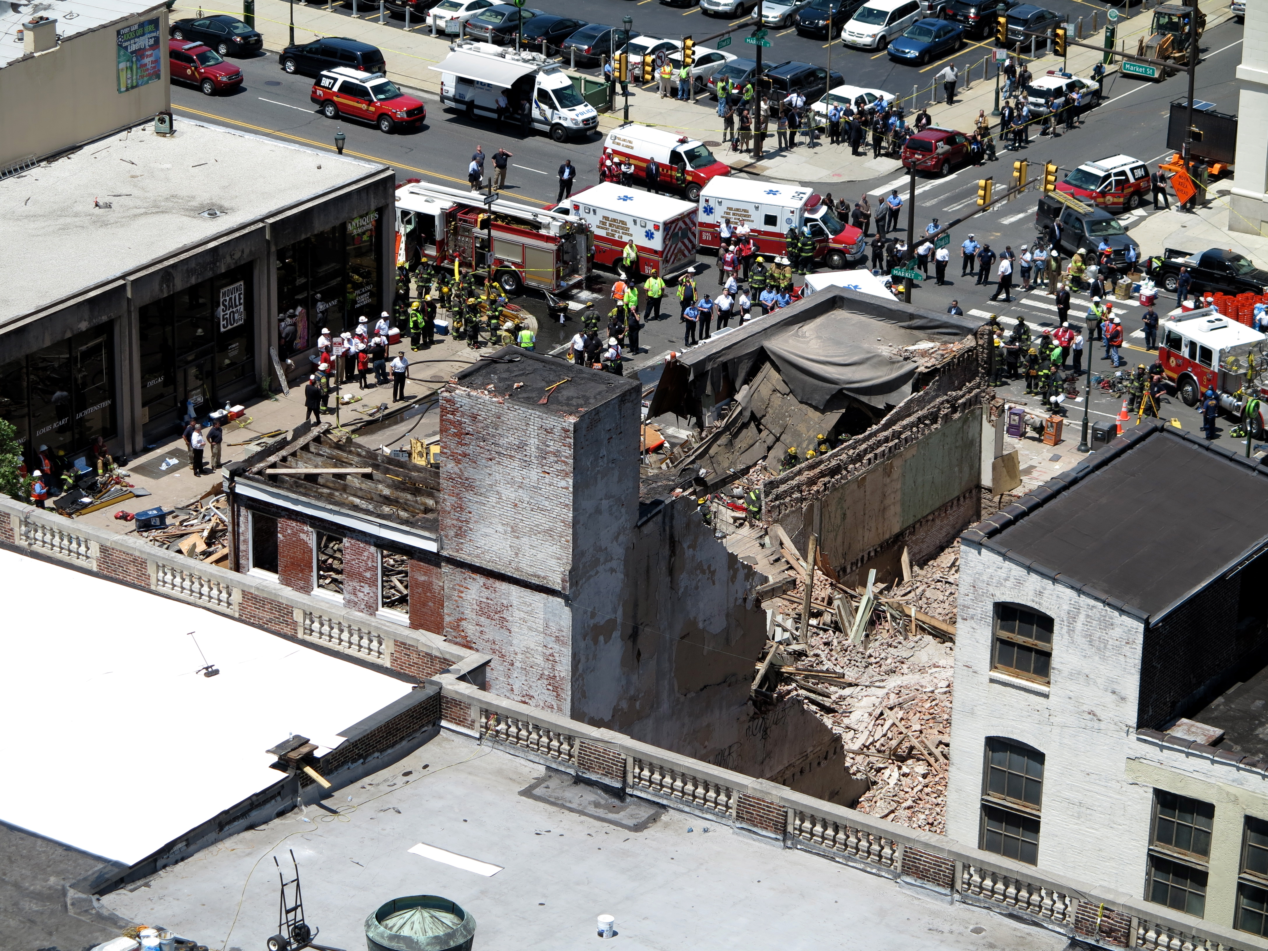 The collapse site from above, from the RiverWest Condominium's rooftop.