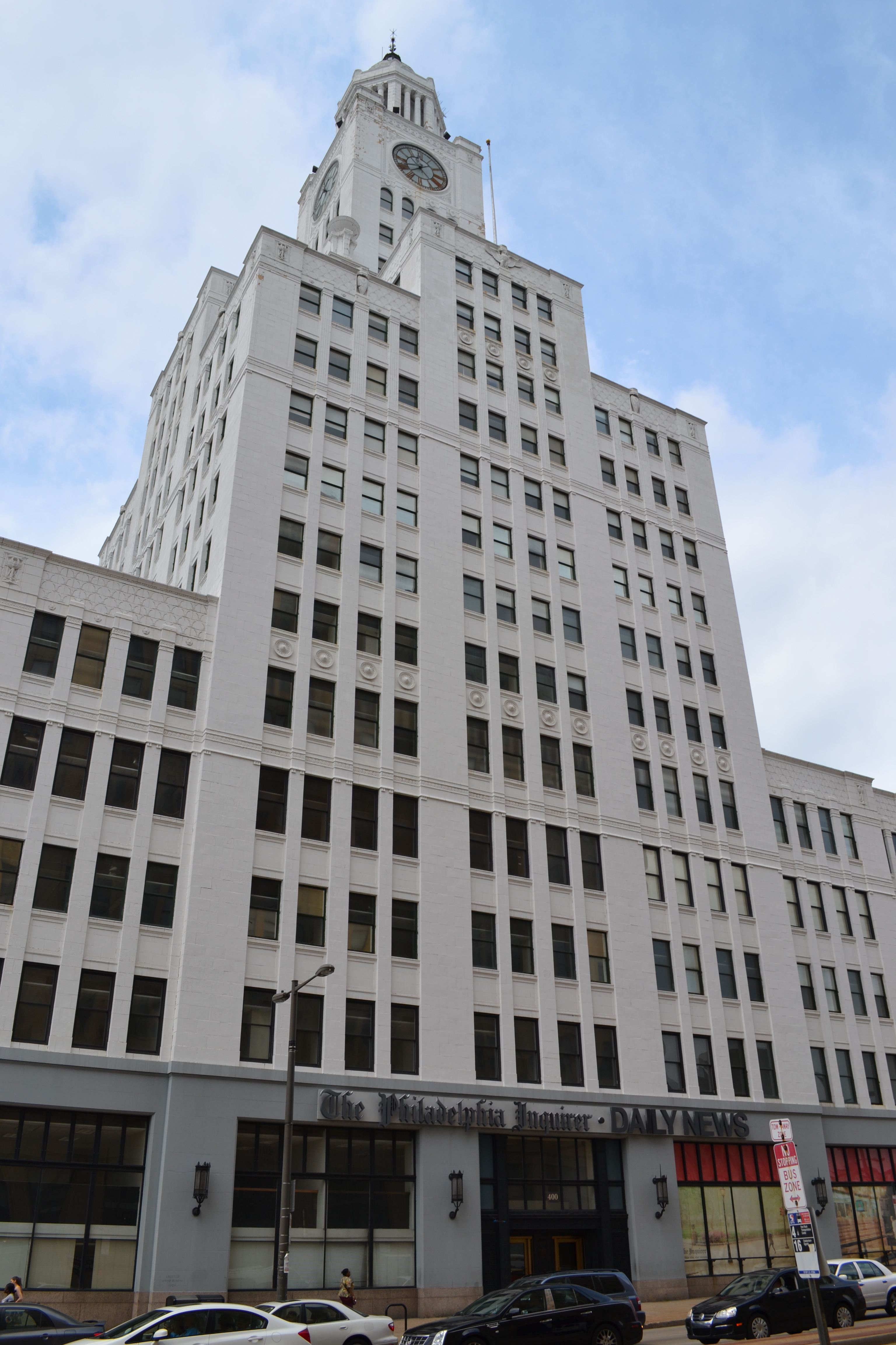The former Inquirer building sits just west of the bridge at 400 N. Broad Street