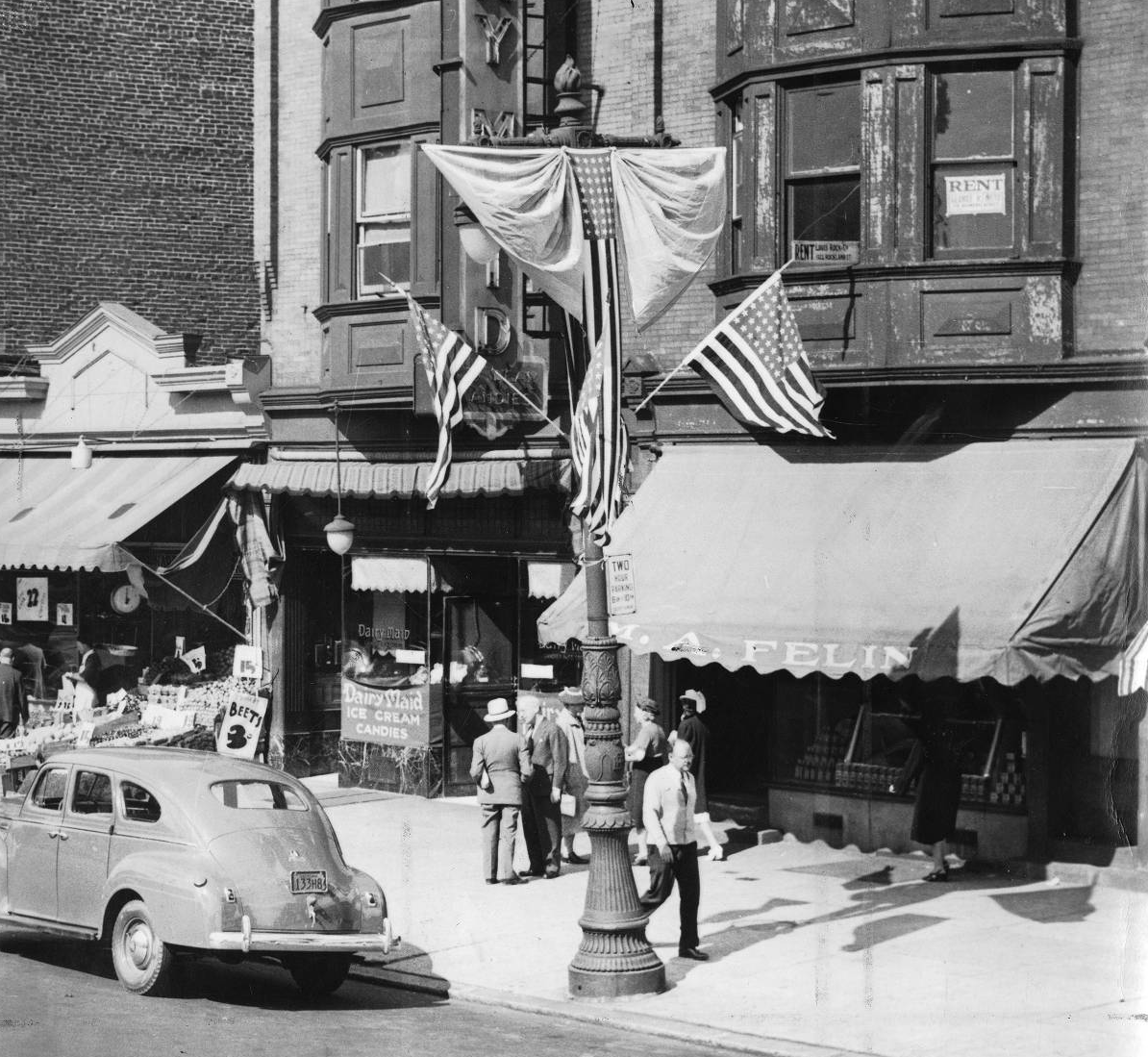 The Logan Business & Improvement League decorated with flags to welcome those attending the GOP convention in 1940 | Special Collections Research Center, Temple University Libraries, Philadelphia, PA