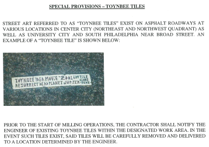 Toynbee Tile Preservation Provision in Streets Dept. Paving Contract