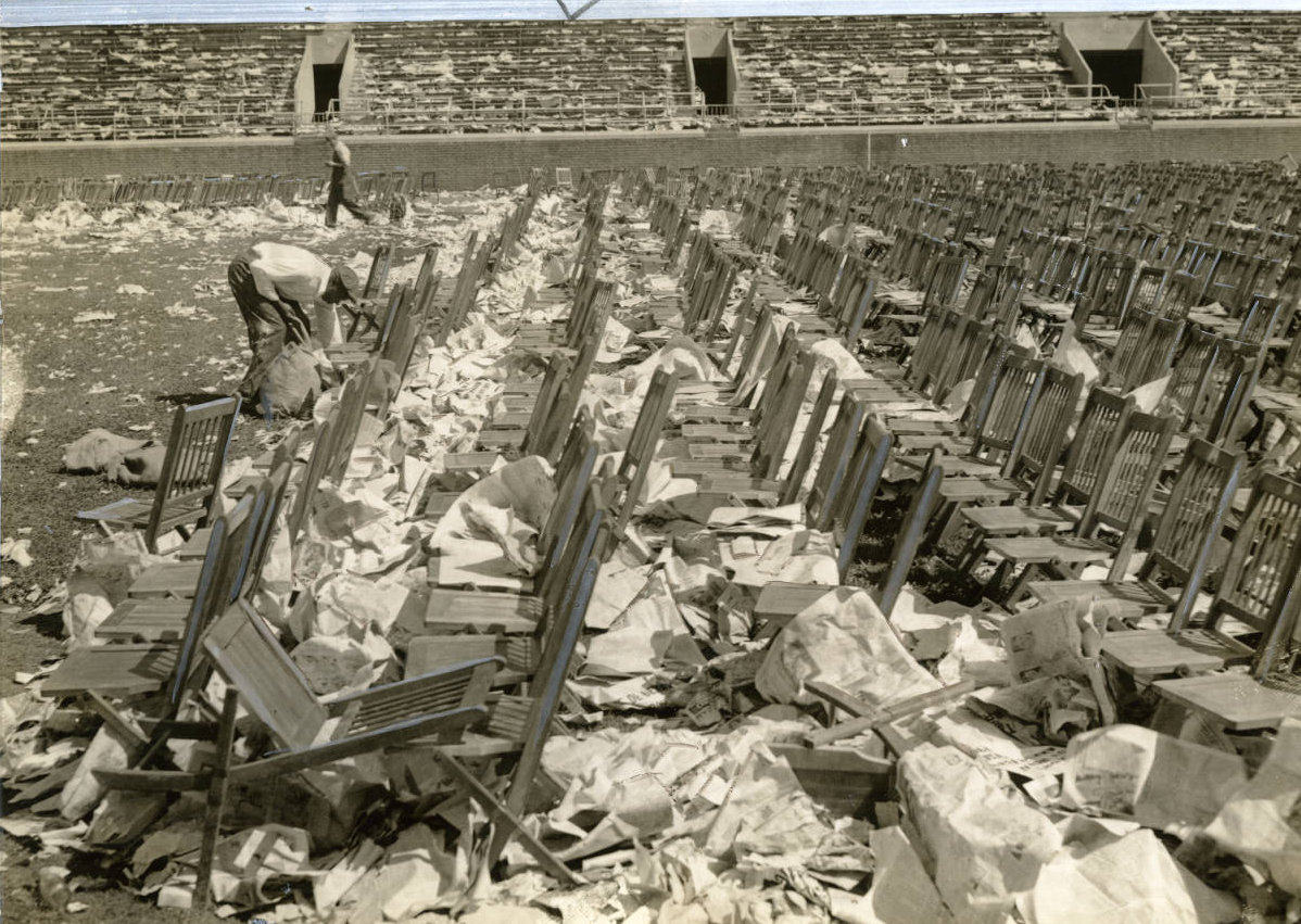 Trash left after closing ceremonies of 1936 Democratic National Convention, Franklin Field. Evening Bulletin | Special Collections Research Center, Temple University Libraries, Philadelphia, PA