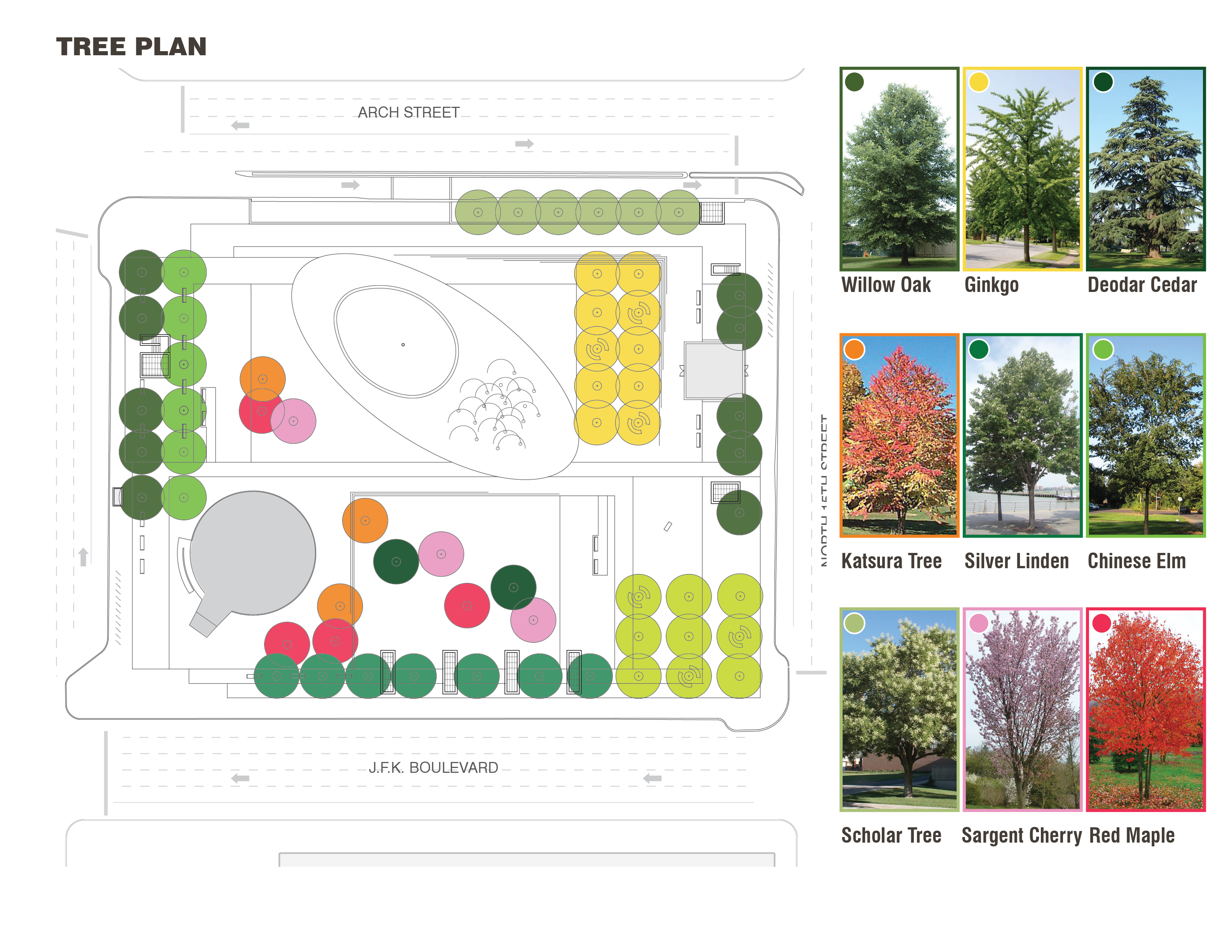 Tree Plan of LOVE Park / JFK Plaza, October 2015 | Hargreaves