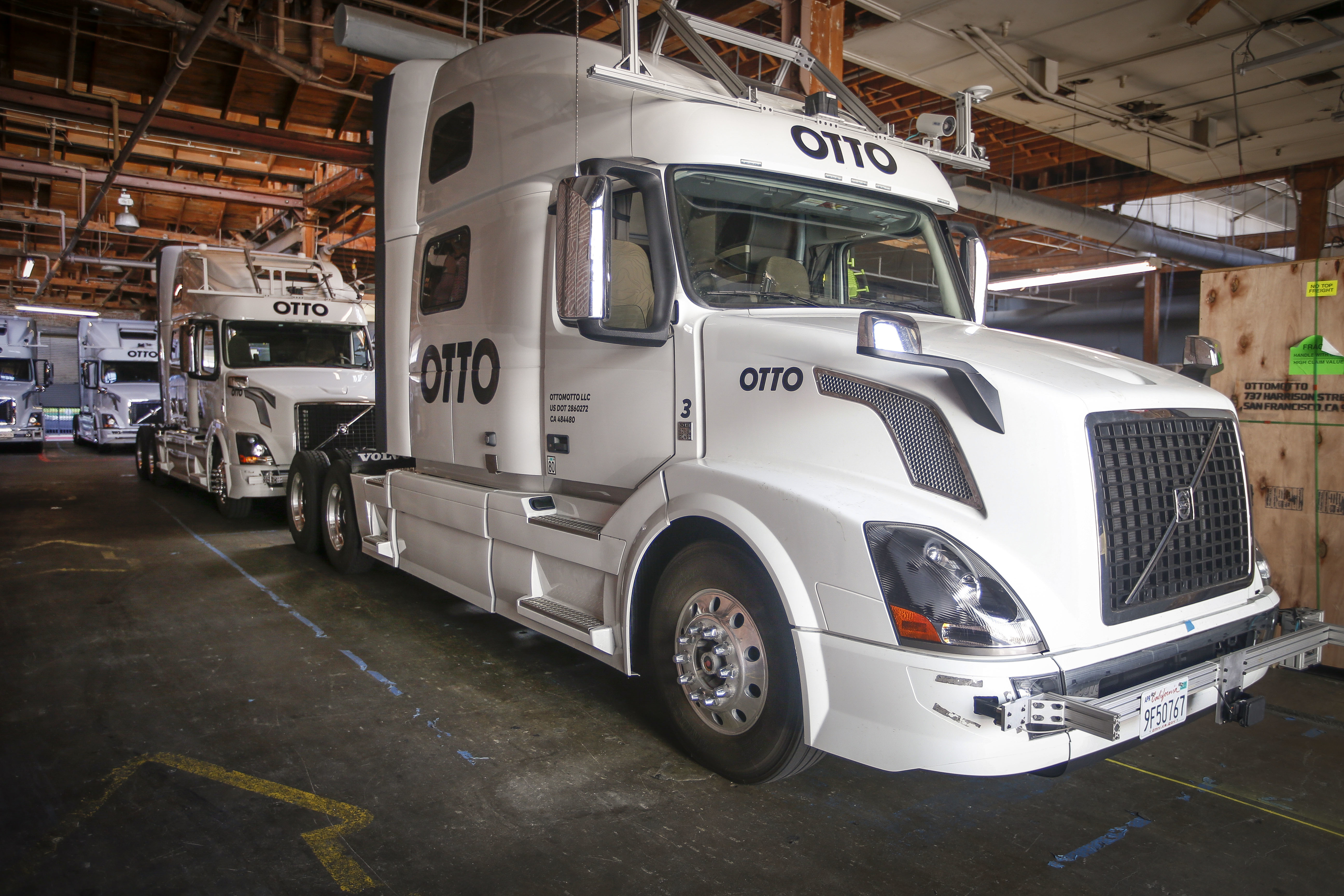 Uber acquired self-driving startup Otto, which has developed technology allowing big rigs to drive themselves. (AP Photo/Tony Avelar)