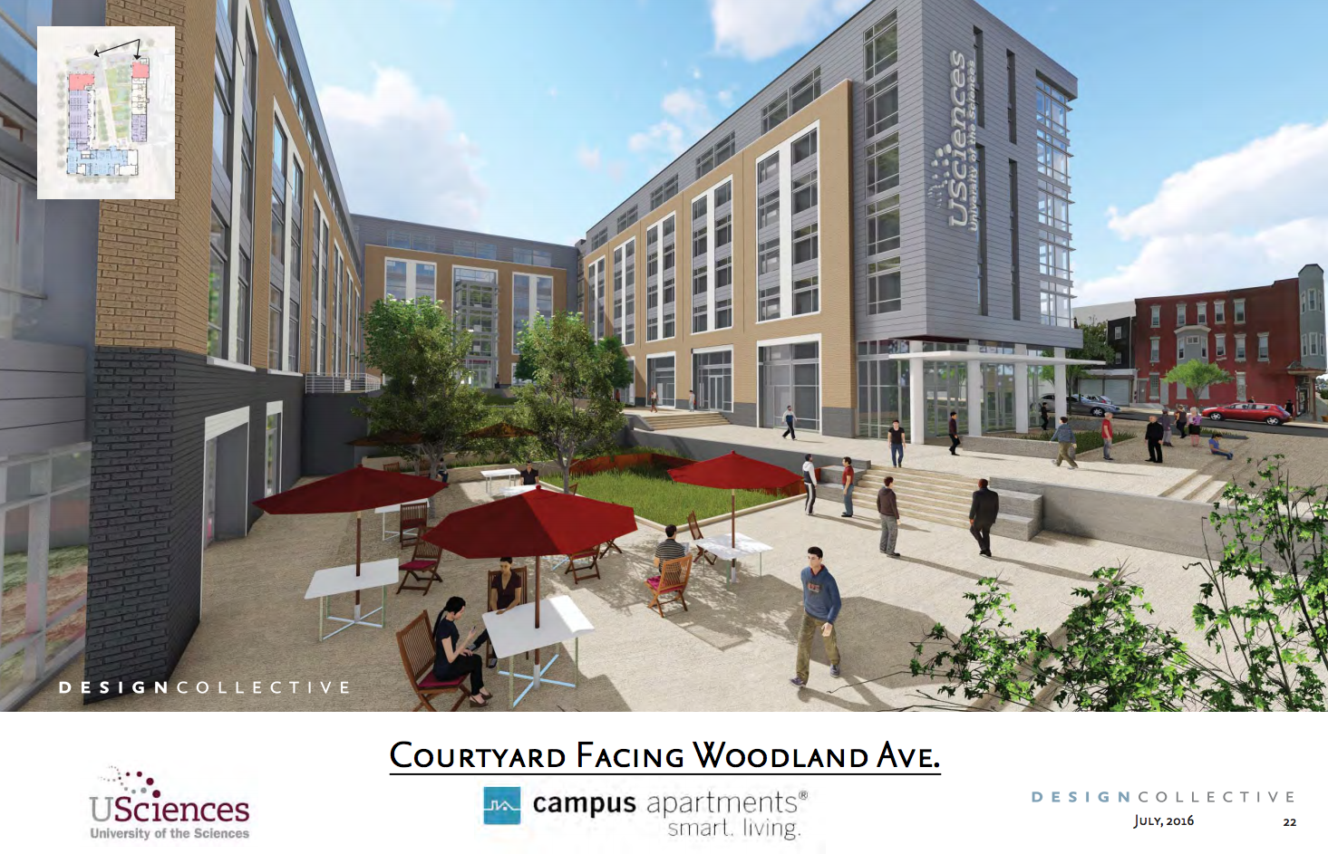 USciences residence hall courtyard facing woodland | August 2016 CDR | Design Collective