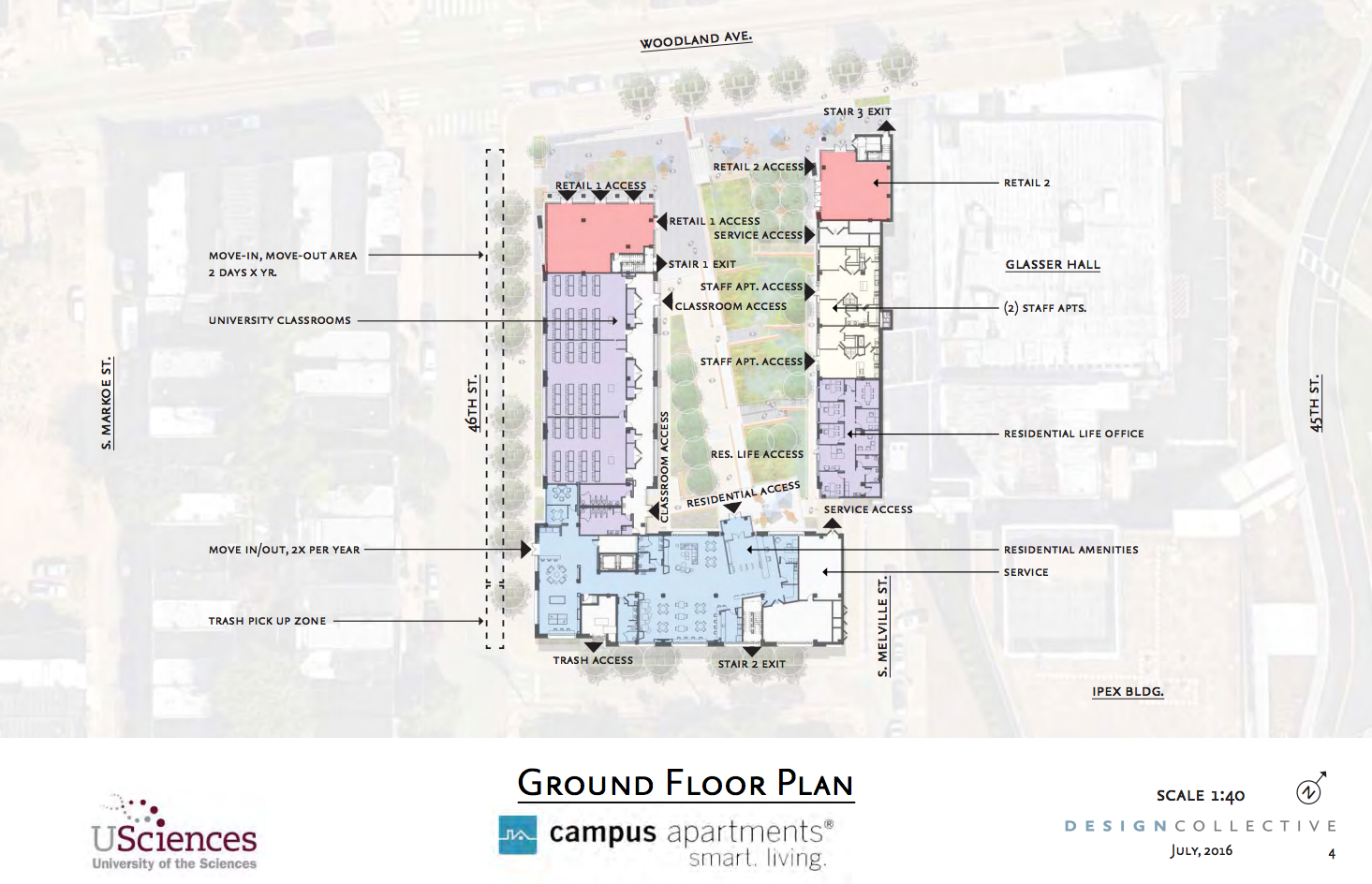 USciences residence hall ground floor plan | August 2016 CDR | Design Collective