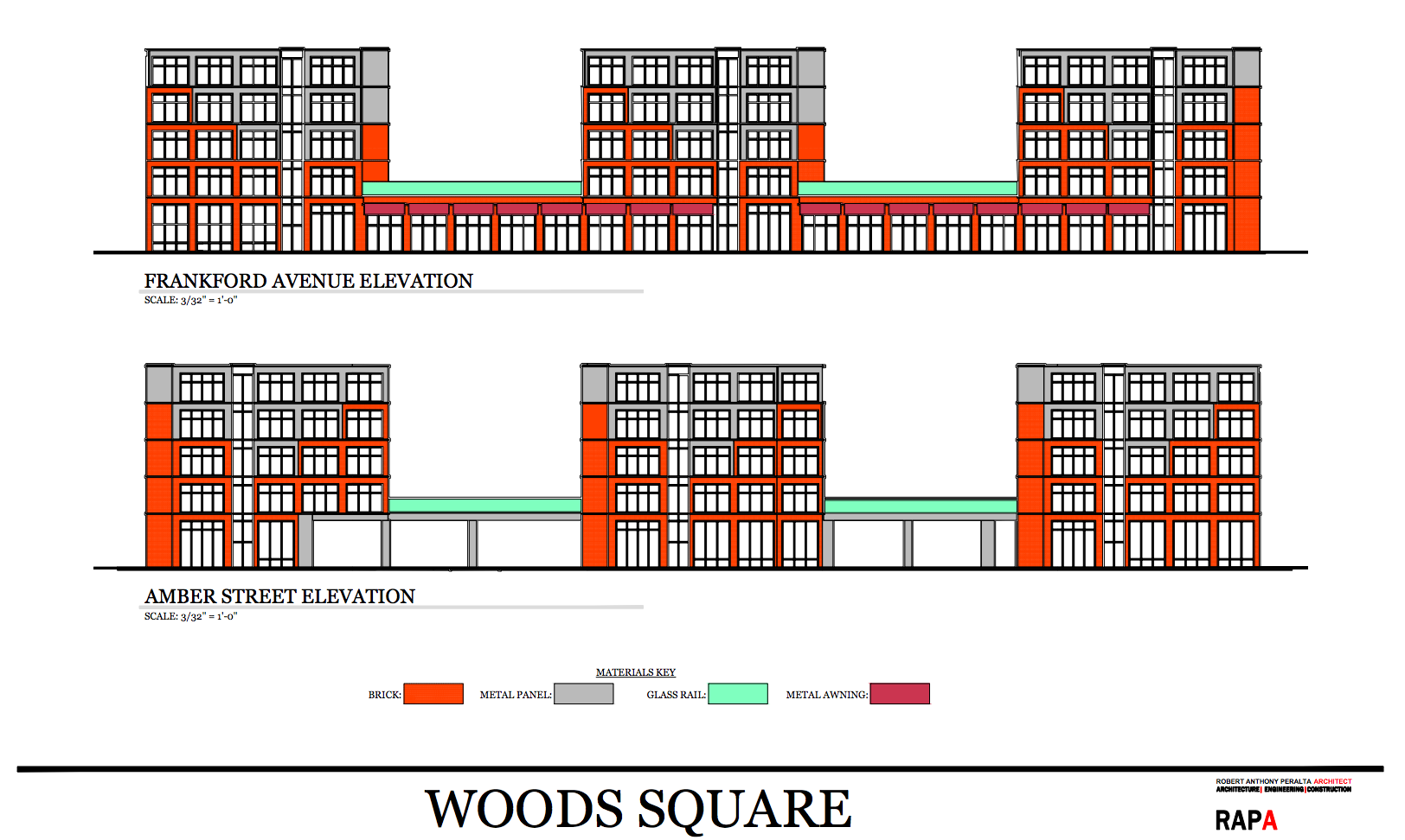 Woods Square: Frankford and Amber Street elevations | RAPA, July 2016 CDR presentation