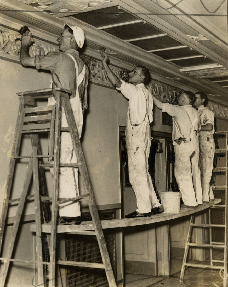 Workers painting in the Convention Hall preparing for the Democratic Convention | Philadelphia, June 15, 1936 | Evening Bulletin | Special Collections Research Center, Temple University Libraries, Philadelphia, PA