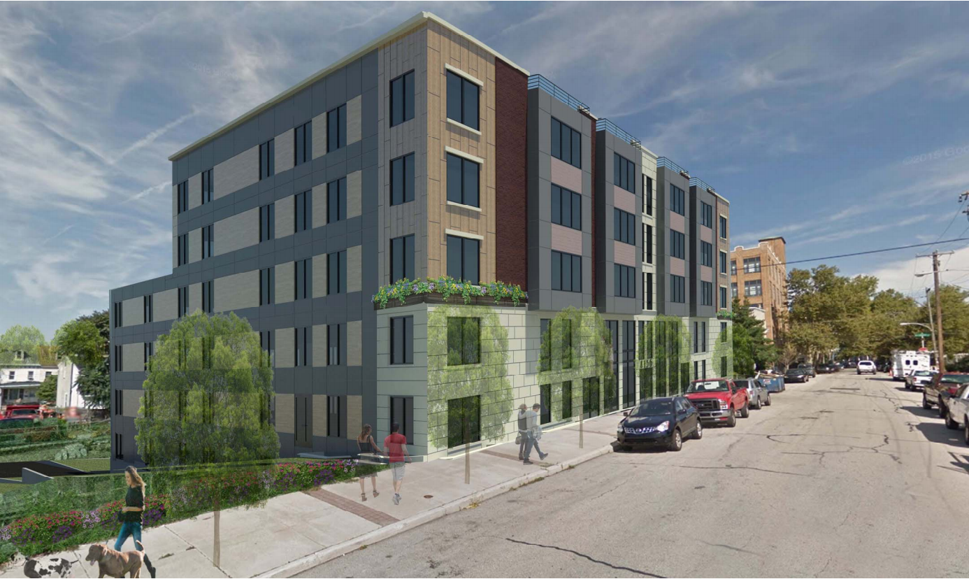 This rendering shows 4136 Mitchell Street in Roxborough, where additional height was allowed in exchange for a promise of a fresh food market.