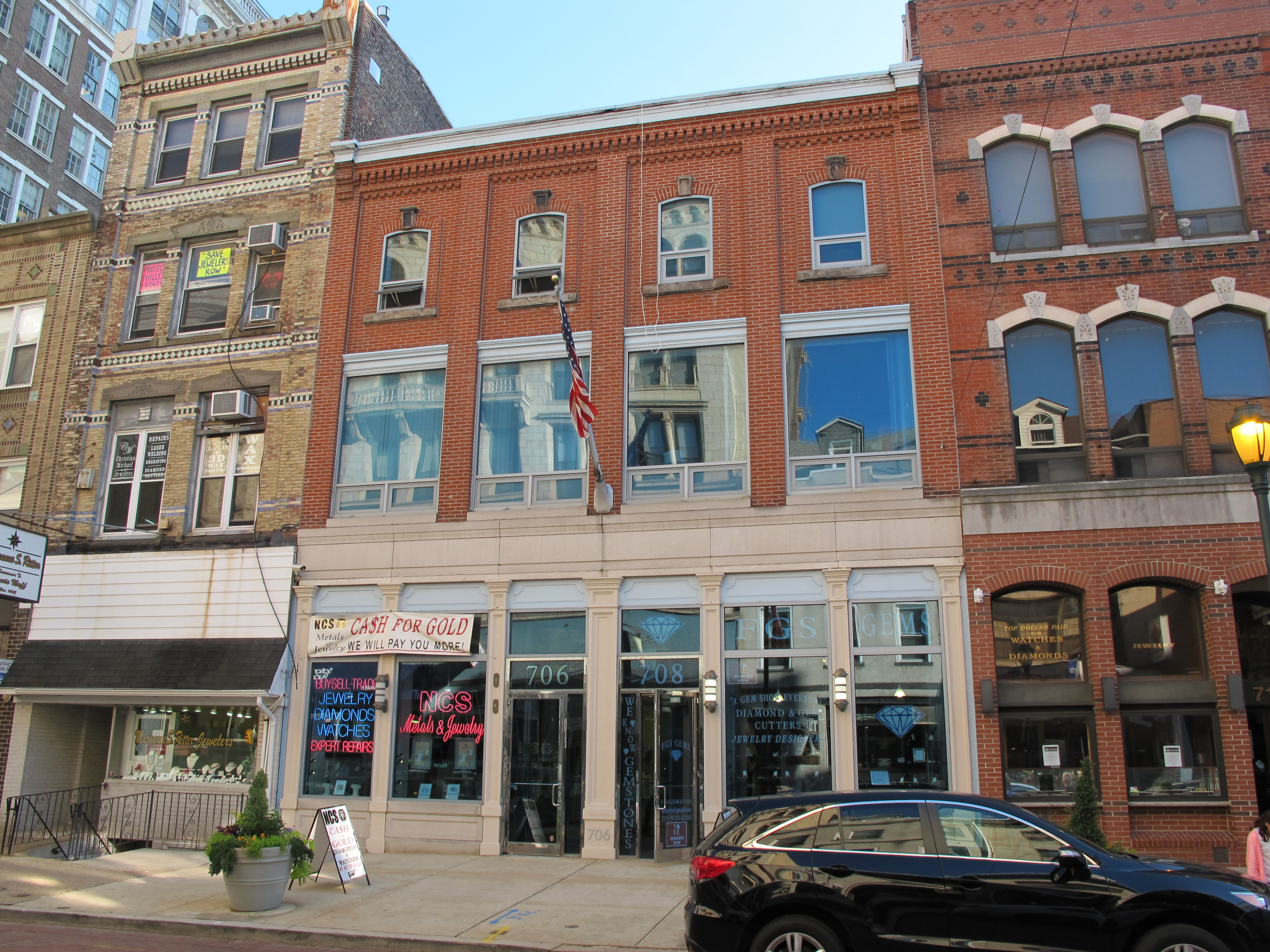 Jewelers' Row (704-708 Sansom St.), as it appeared in September 2016.