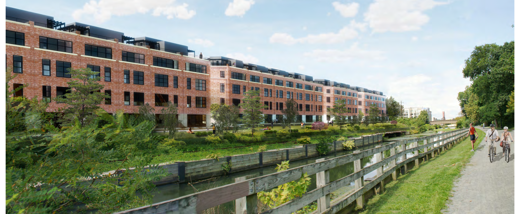 A rendering of the Venice Island development from the Manayunk towpath.