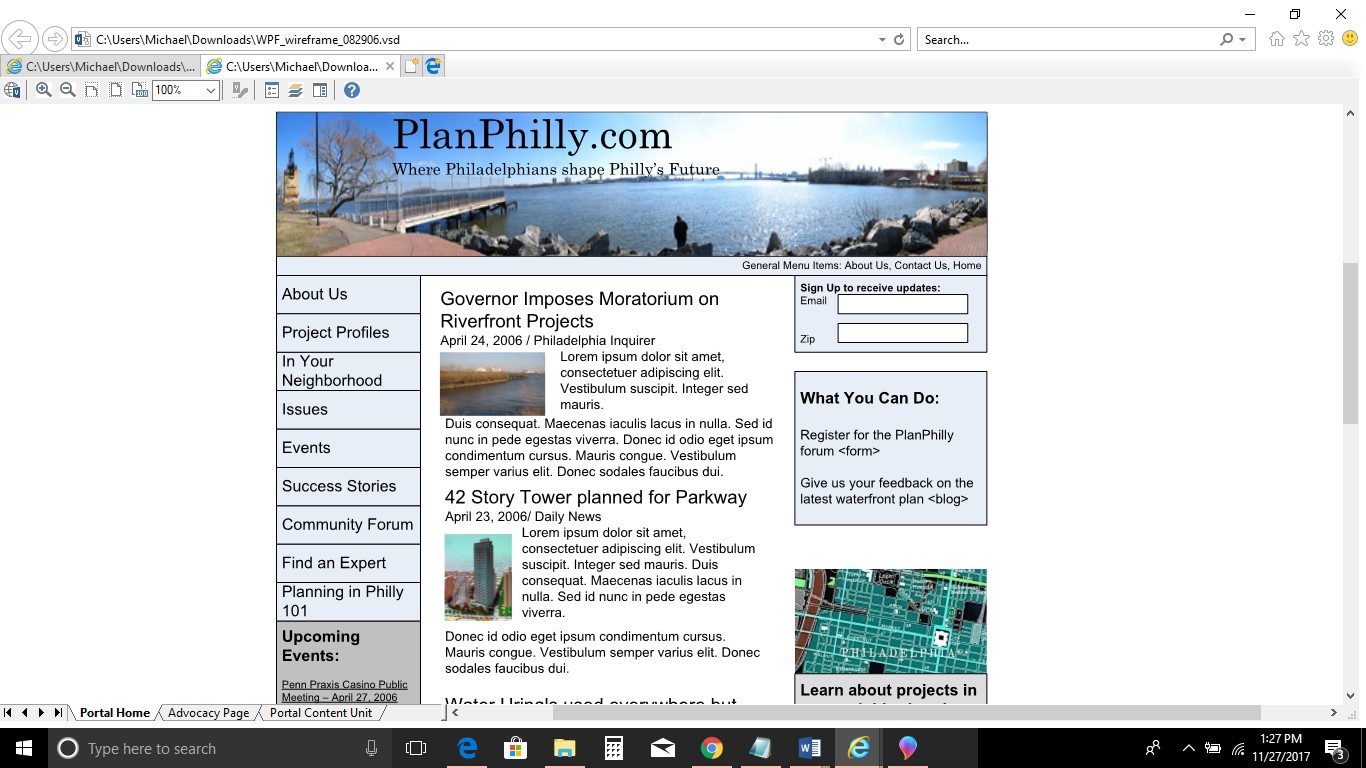 A wireframe mock up of the original PlanPhilly.com website