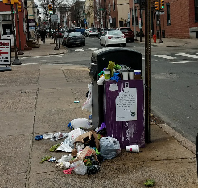 BigBelly overflowing with residential trash, photo sent to Philly311 in January 2017.