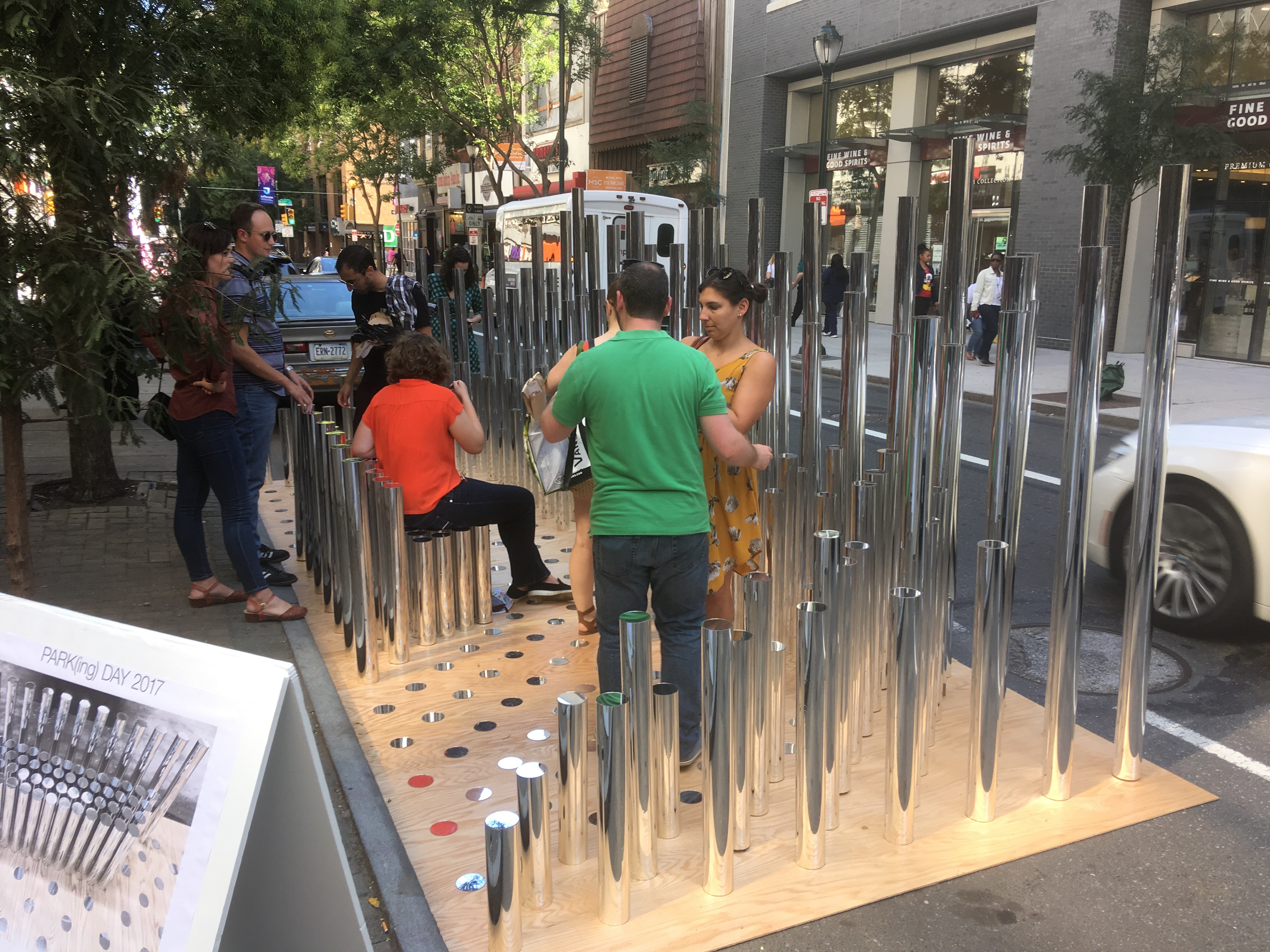 Bohlin Cynwinski Jackson reflected the best of Park(ing) Day with their mirrored poles at 11th and Chestnut
