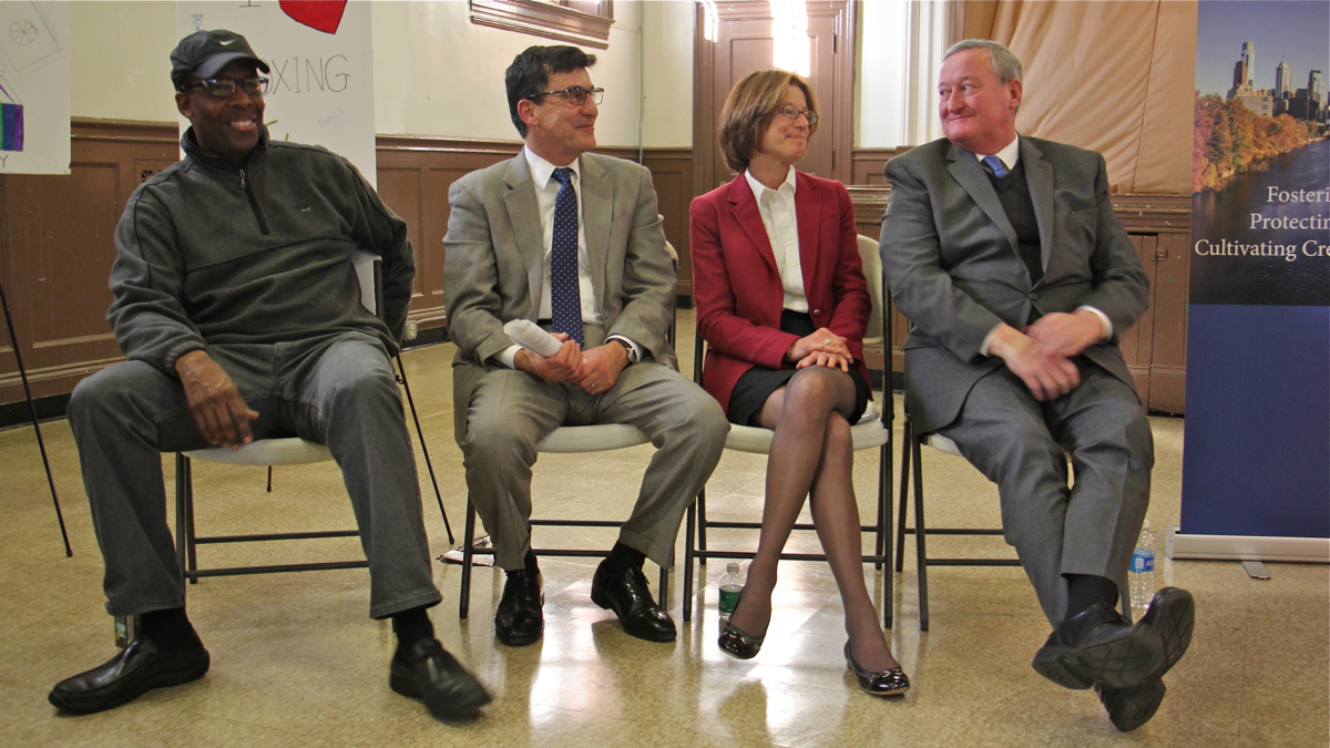 Council President Clarke, Managing Director Mike DiBerardinis, Janet Haas of the William Penn Foundation, and Mayor Jim Kenney at Rebuild grant announcement in November 2016. | Emma Lee/WHYY