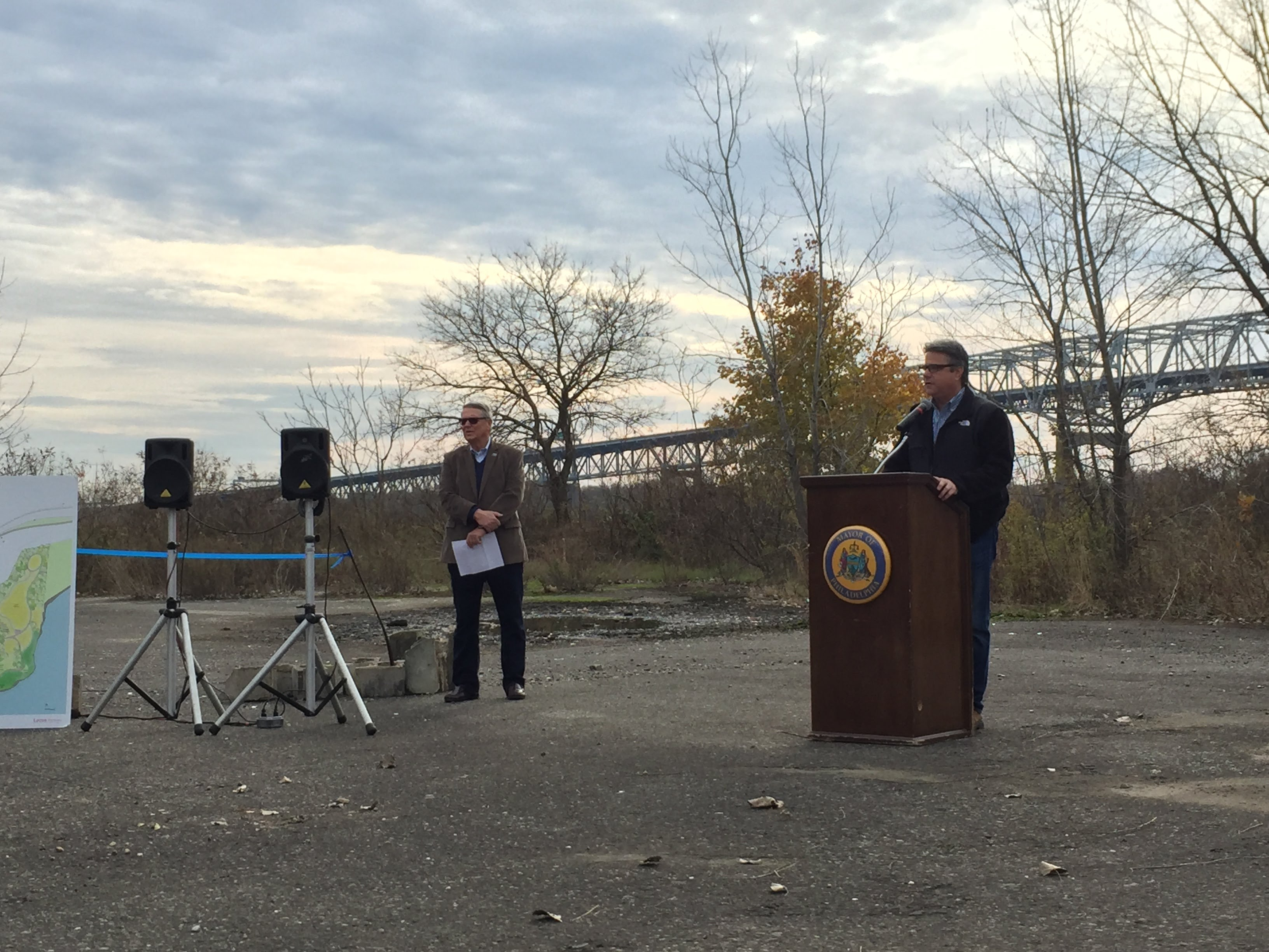 Councilman Bobby Henon speaking at site of proposed park in Bridesburg