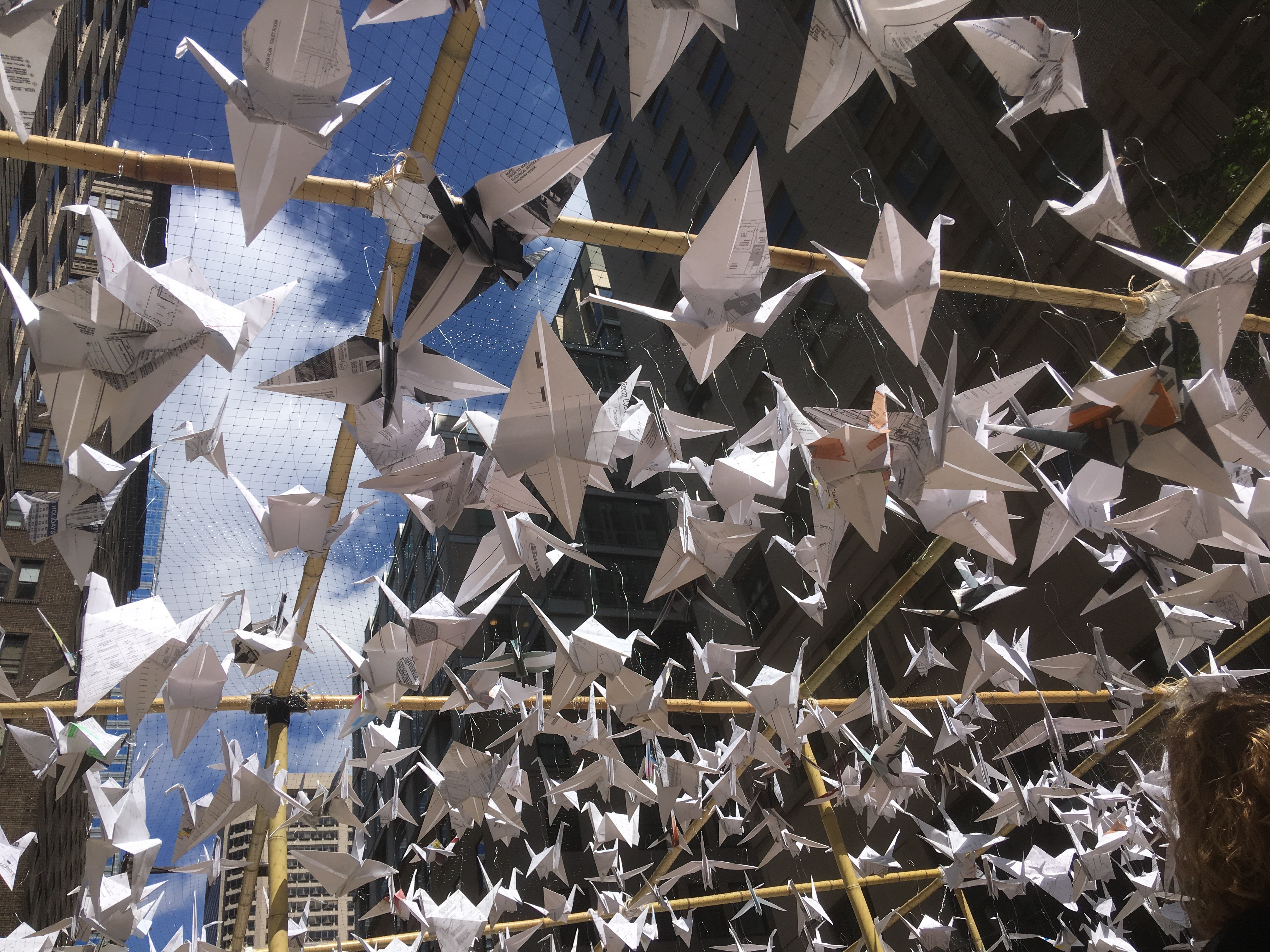 Crane your neck and check out the origami at SMP Architect's Park(ing) Day installation at 16th and Chestnut