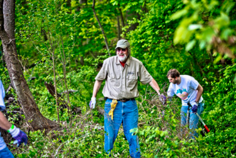 David Bower working with volunteers. (Philadelphia Parks and Recreation)